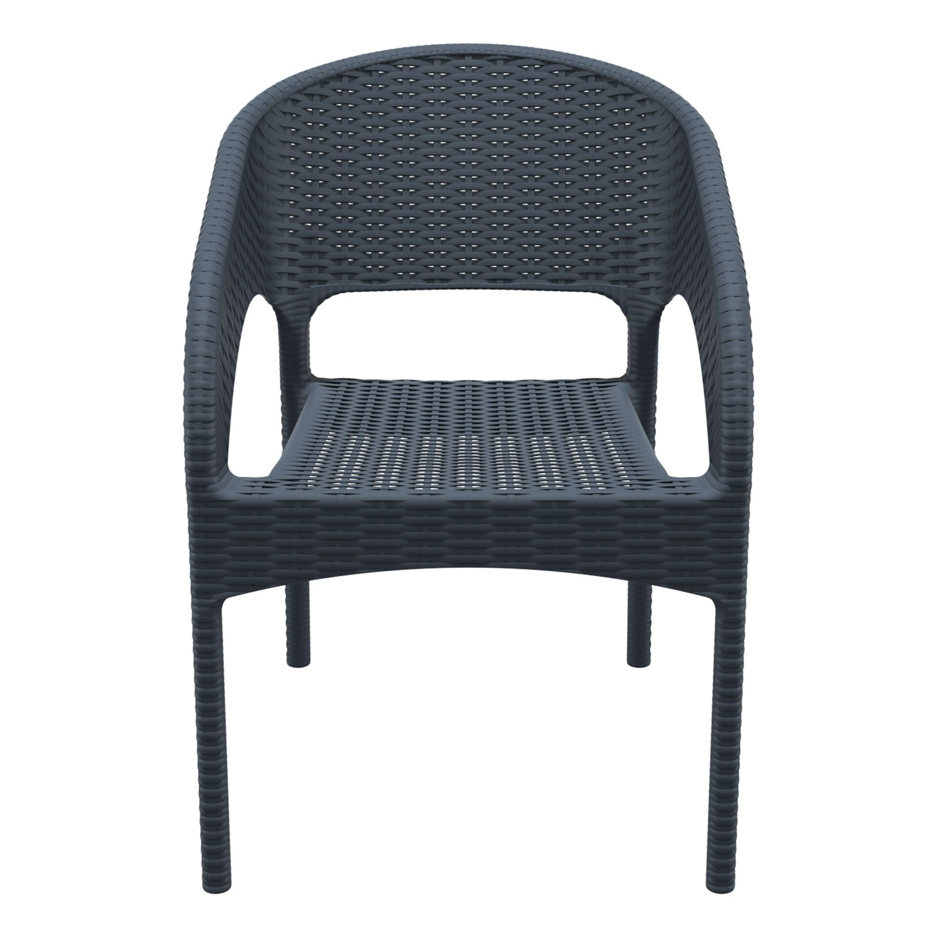 outdoor seating resin rattan panama armchair darkgrey front