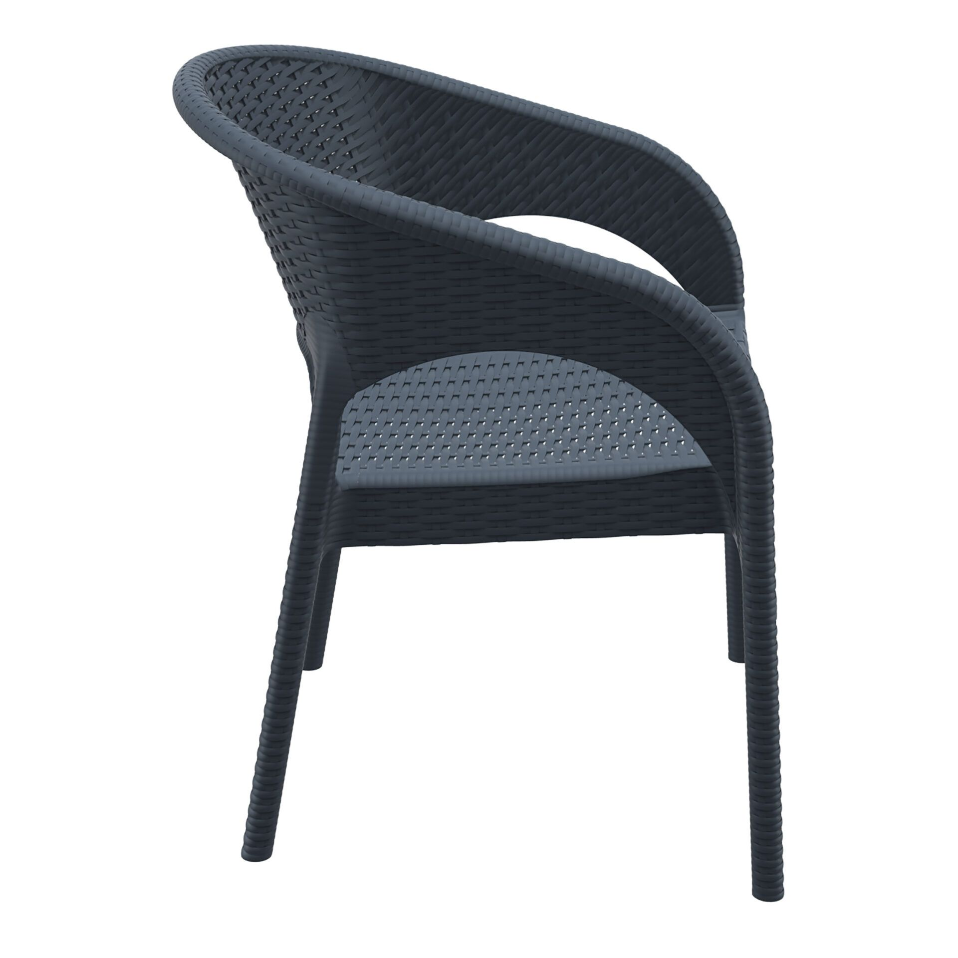 outdoor seating resin rattan panama armchair darkgrey side