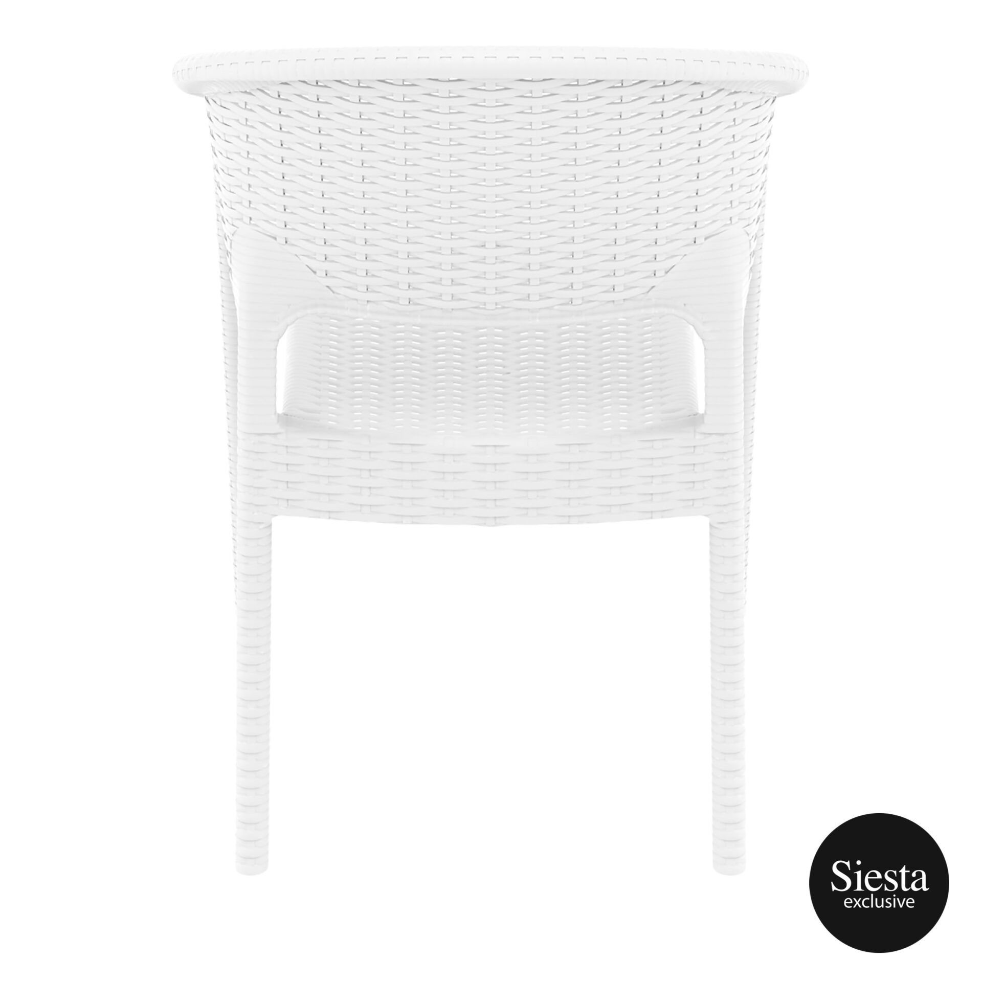 outdoor seating resin rattan panama armchair white back 1