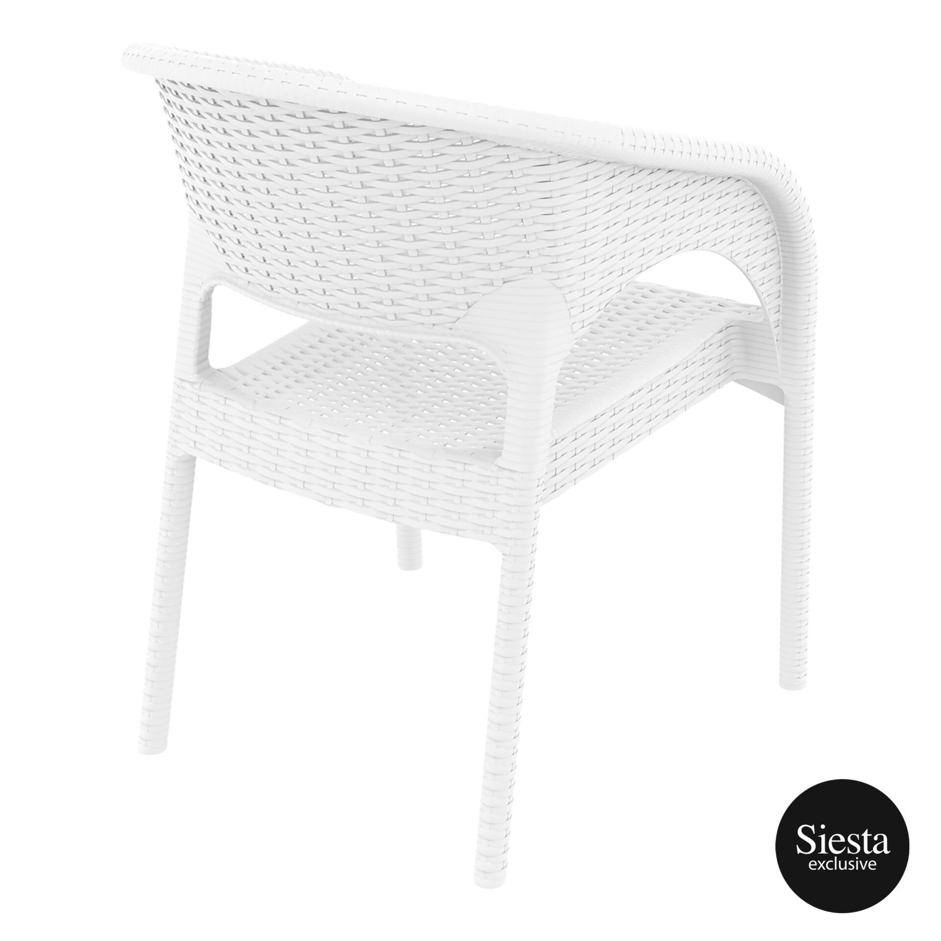 outdoor seating resin rattan panama armchair white back side 1