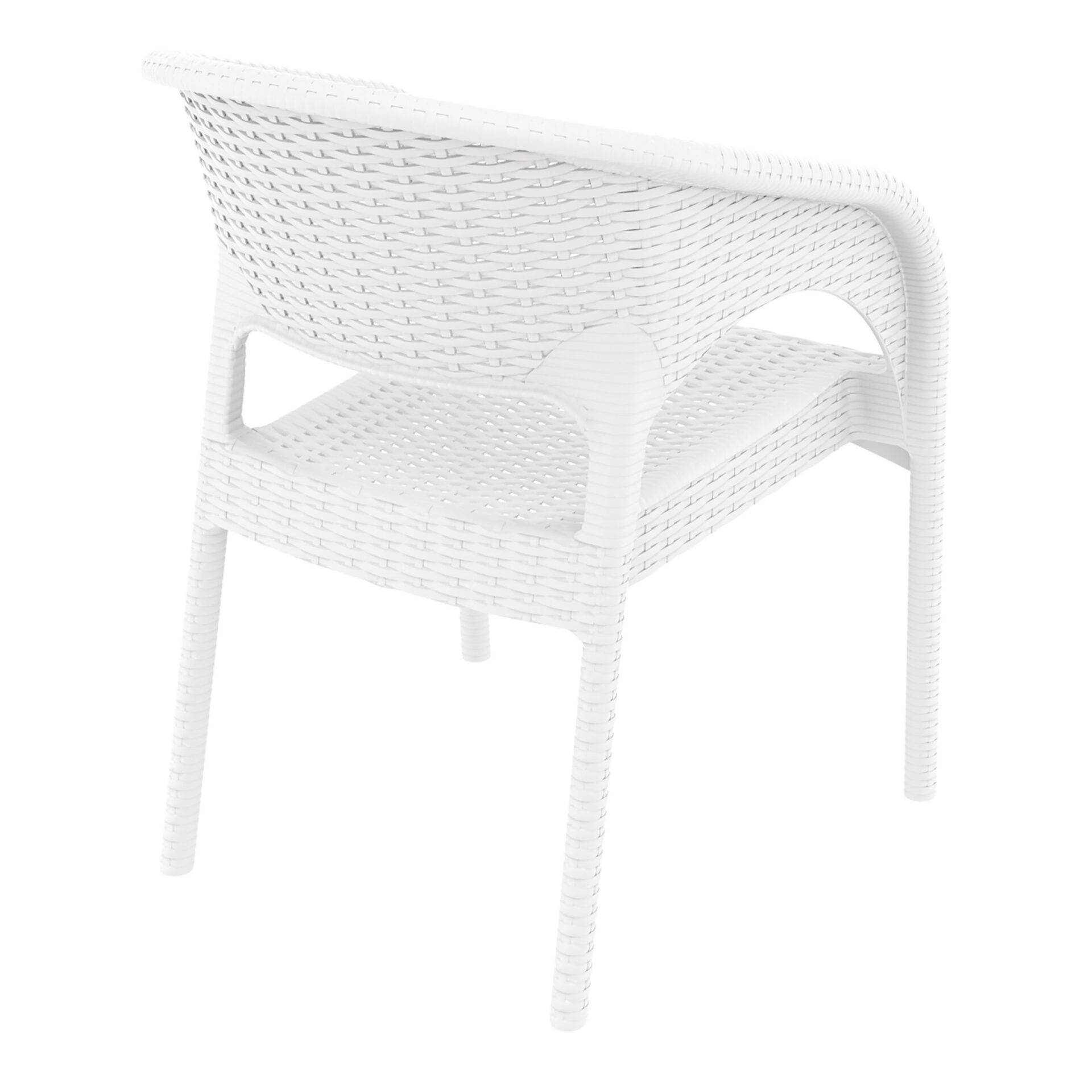 outdoor seating resin rattan panama armchair white back side