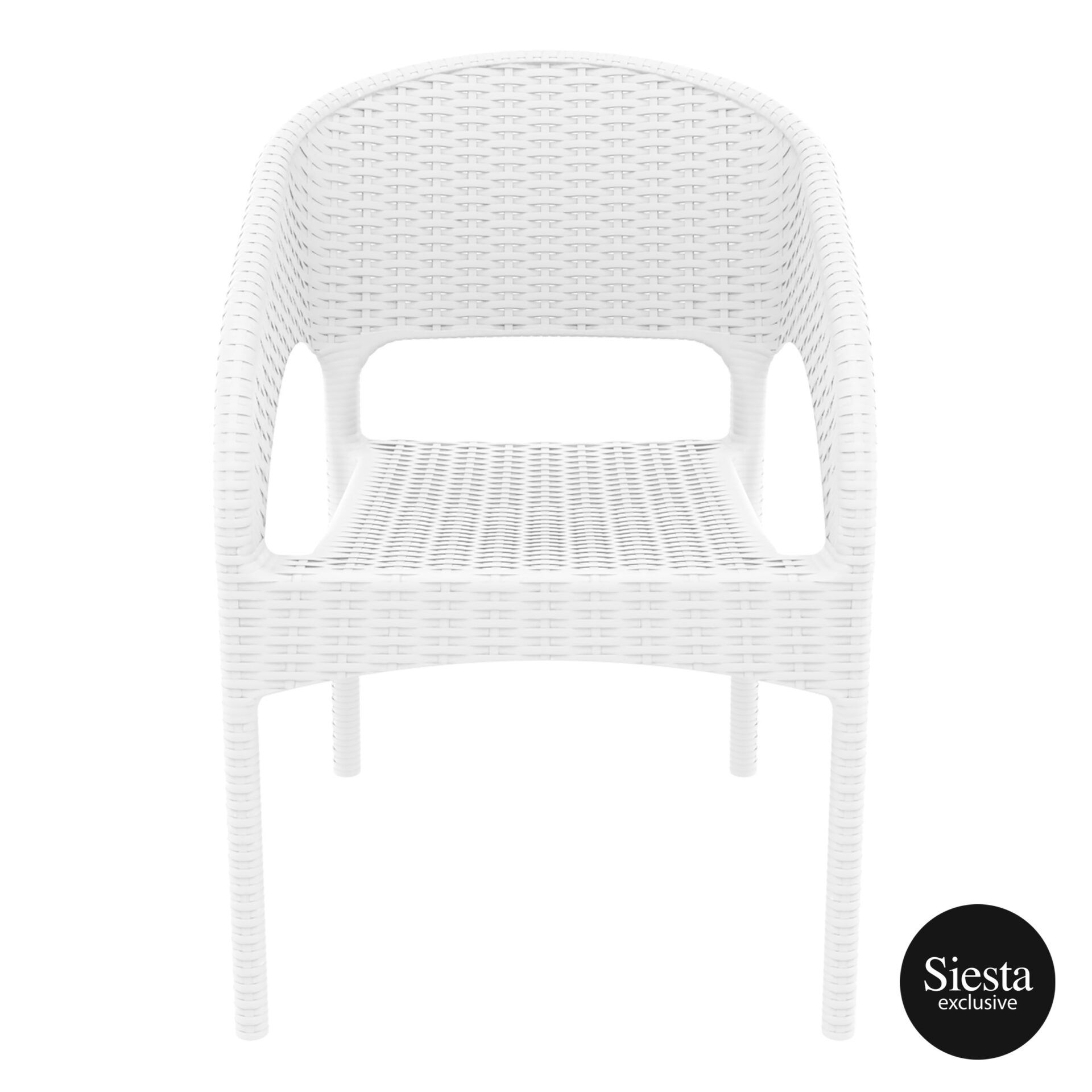 outdoor seating resin rattan panama armchair white front 1