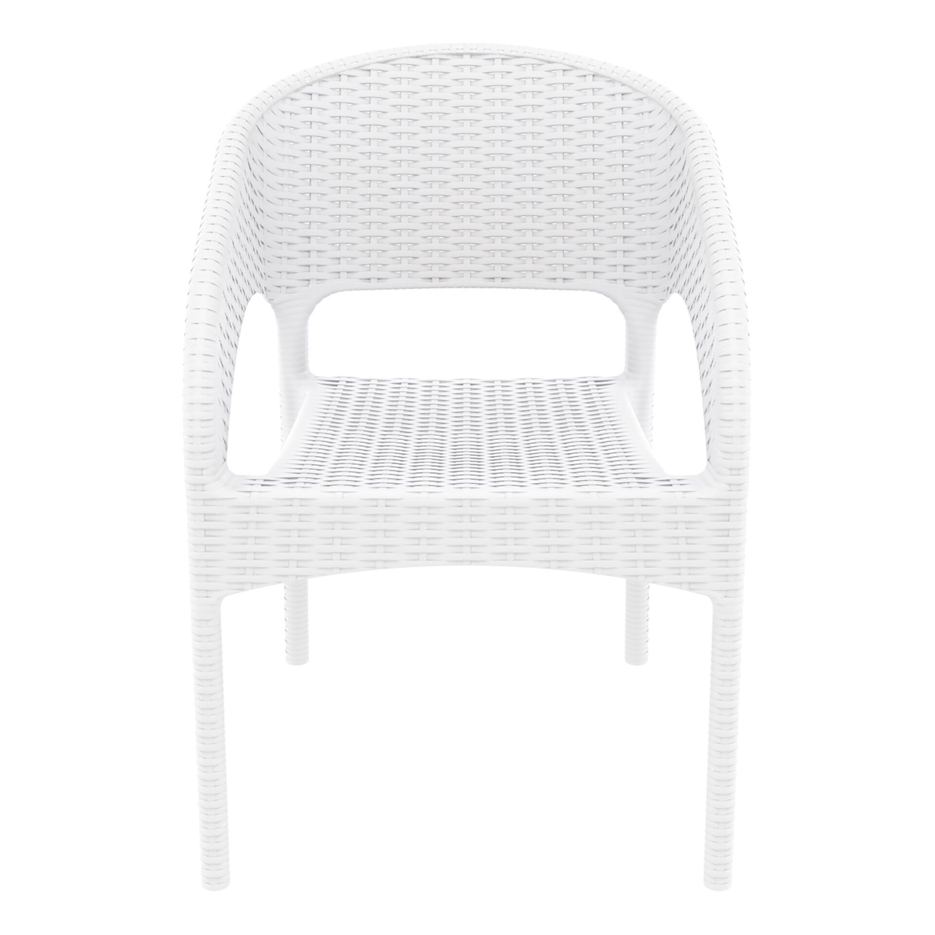 outdoor seating resin rattan panama armchair white front