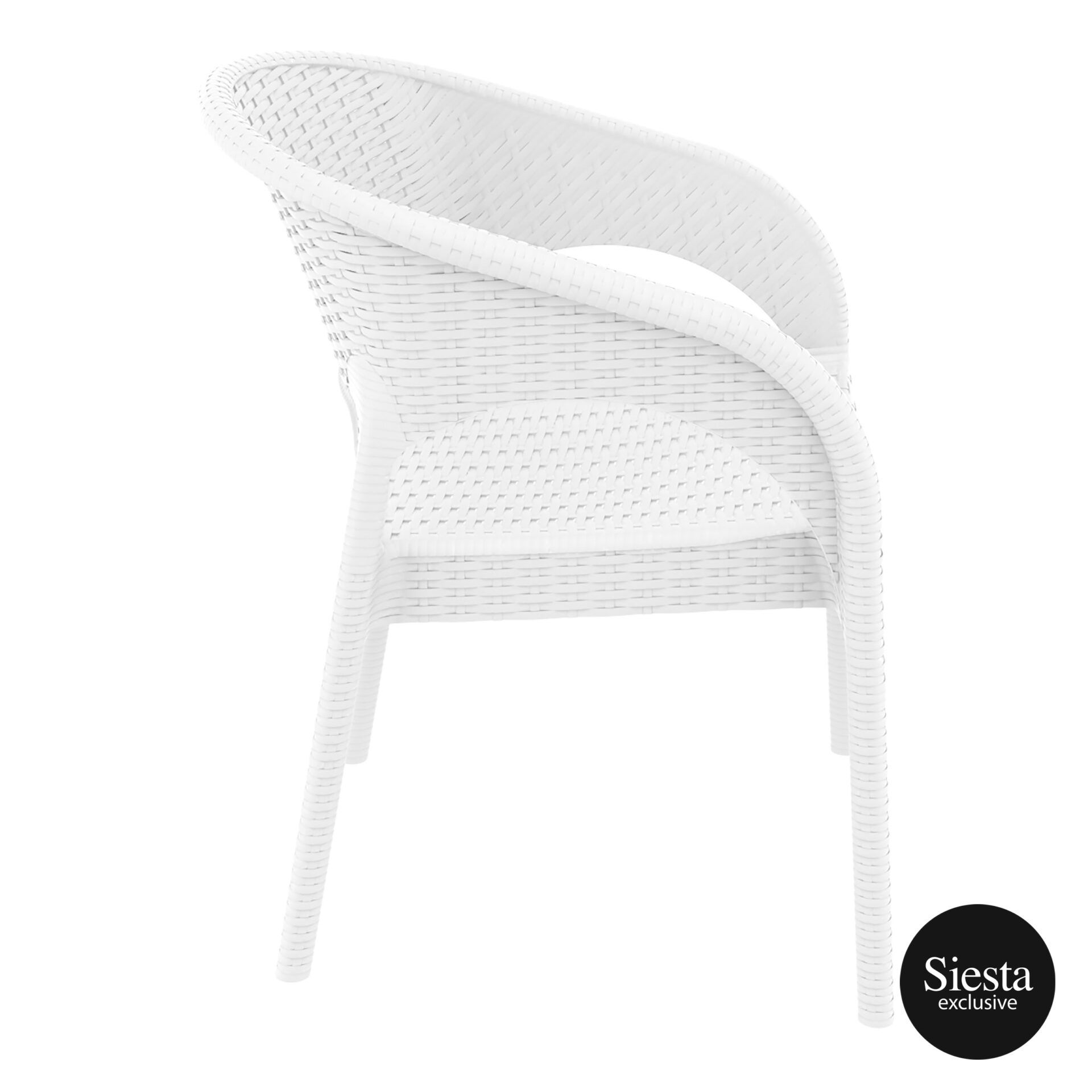 outdoor seating resin rattan panama armchair white side 1