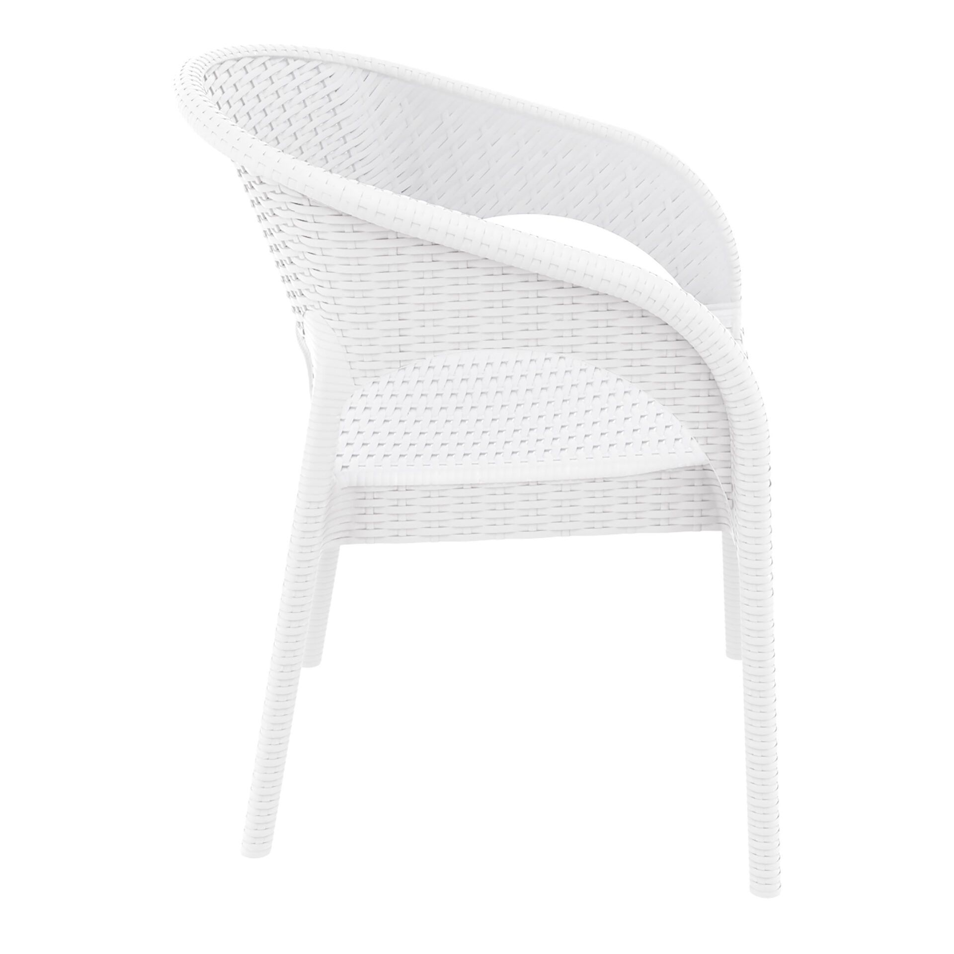 outdoor seating resin rattan panama armchair white side
