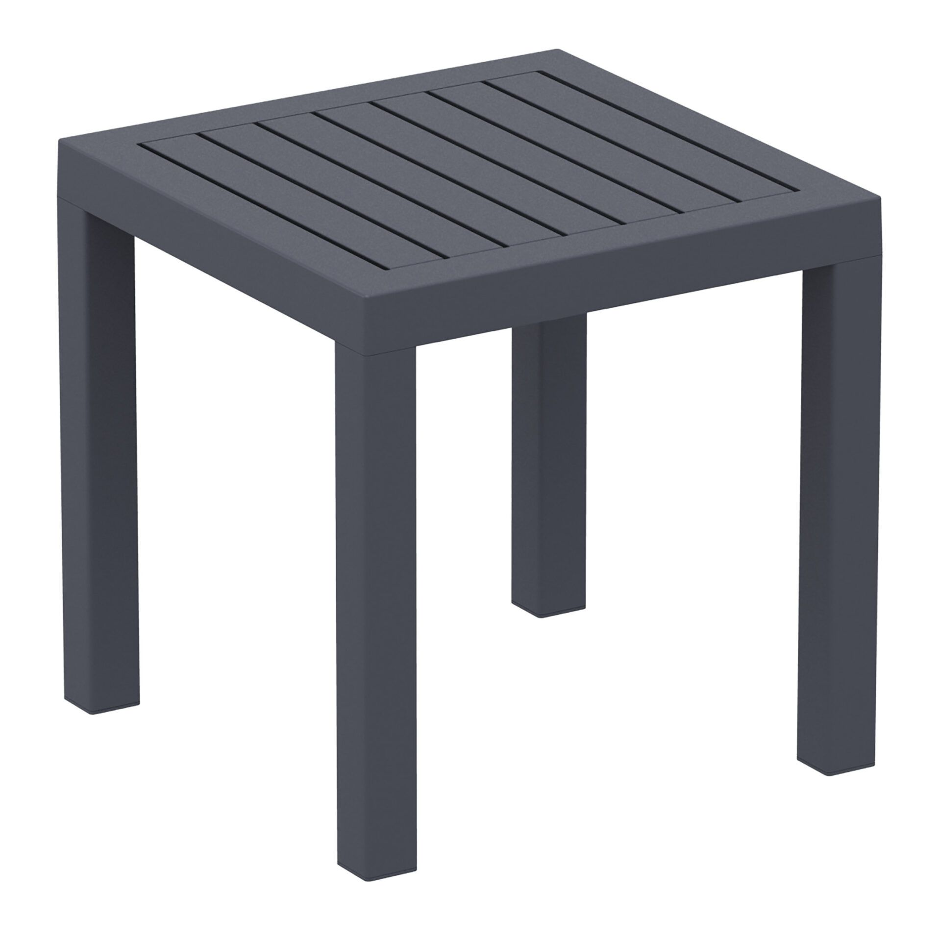 plastic outdoor resort ocean side table darkgrey front side