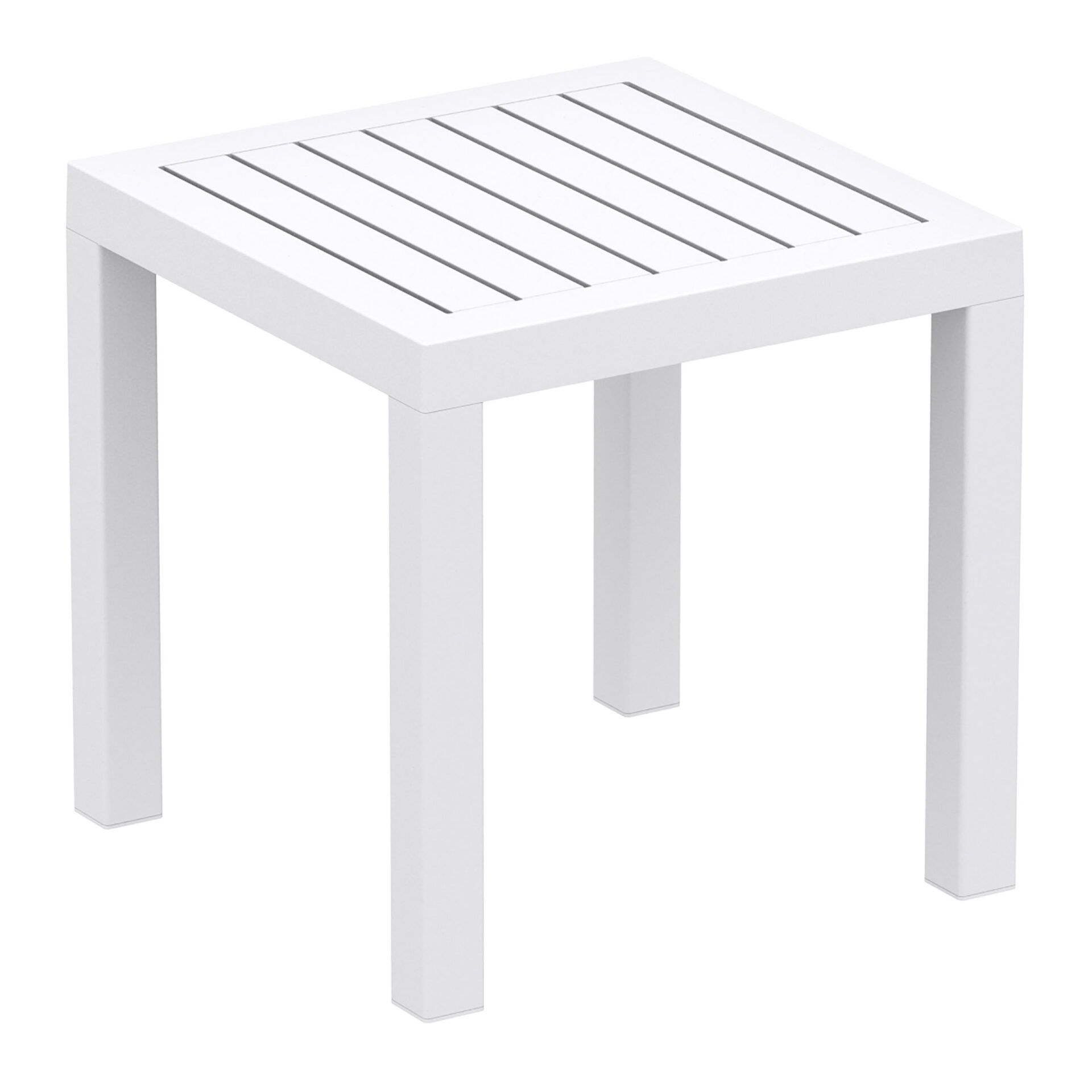 plastic outdoor resort ocean side table white front side