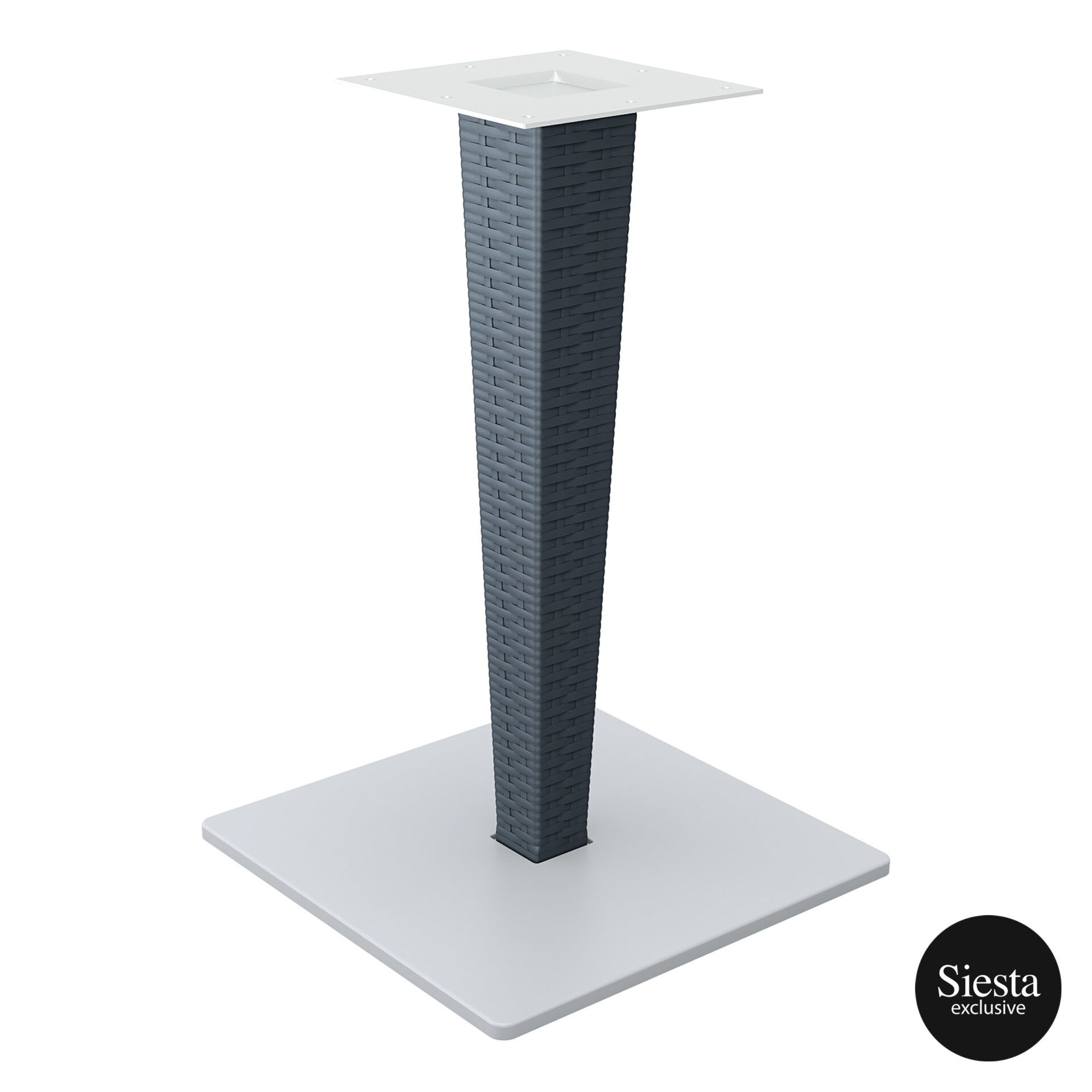poly resin rattan riva table base darkgrey front side 1