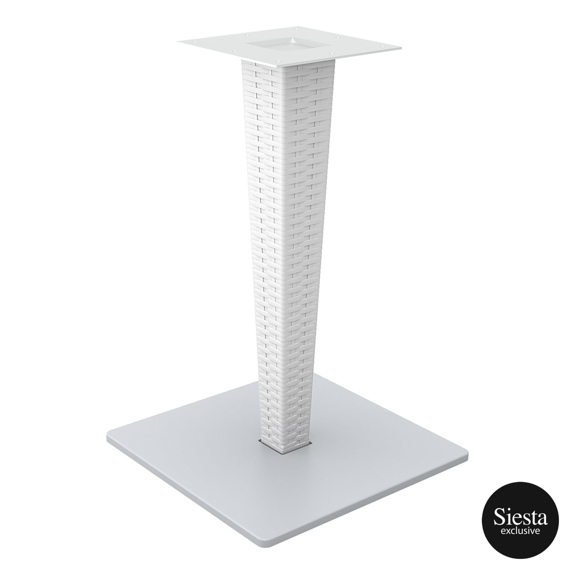 poly resin rattan riva table base white front side 1