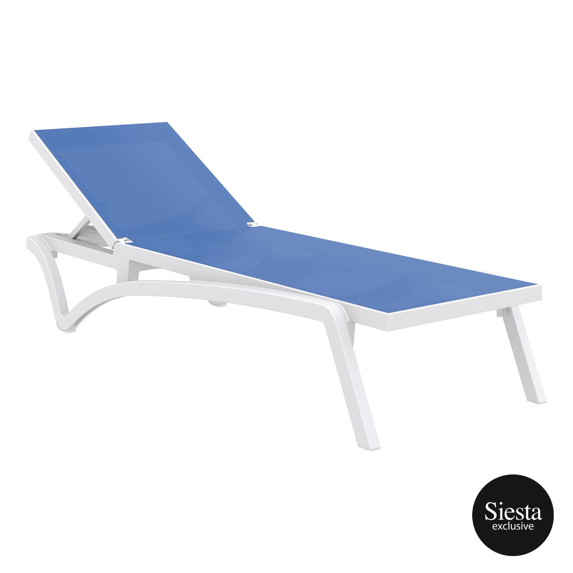 pool deck commercial pacific sunlounger white blue front side