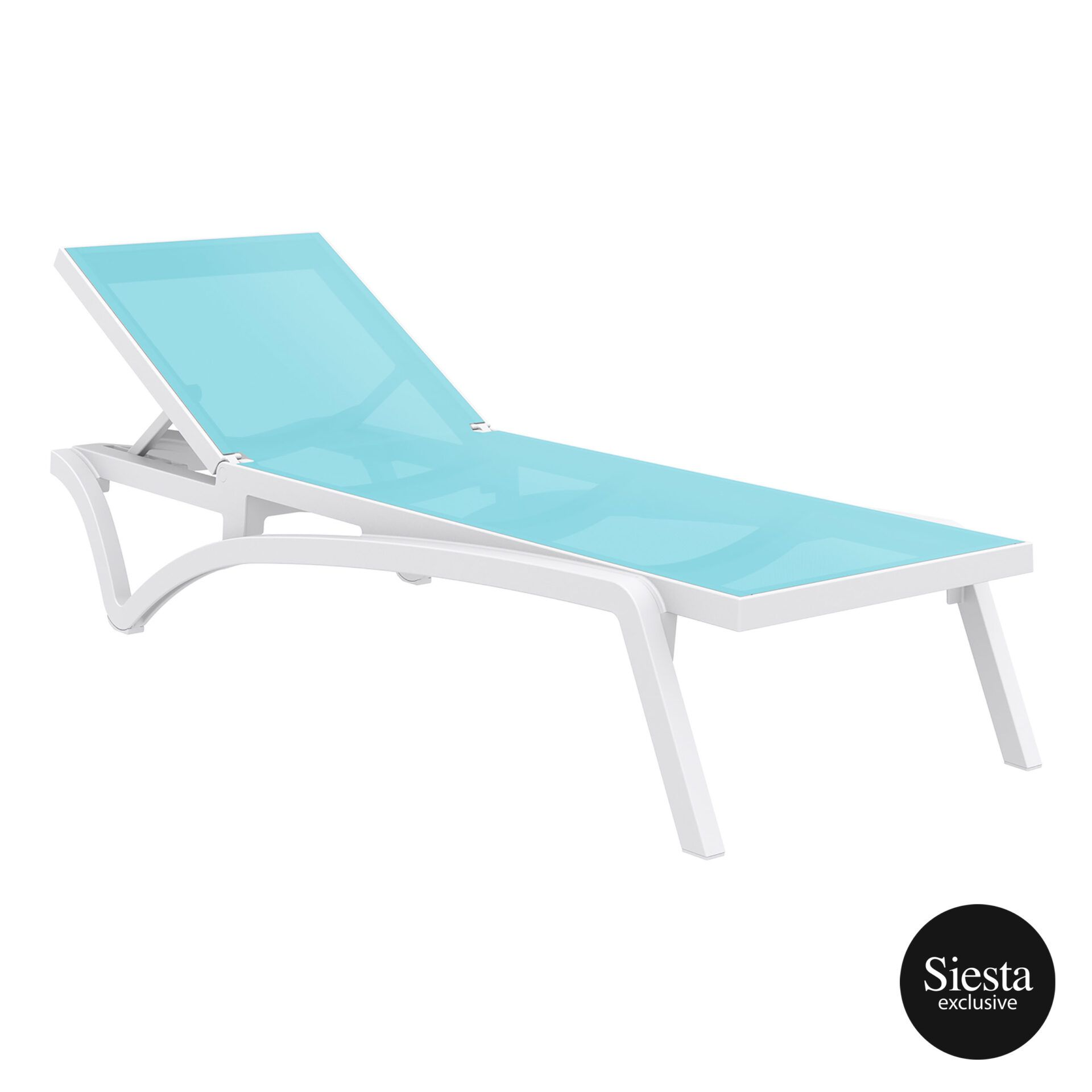 pool deck commercial pacific sunlounger white turquoise front side