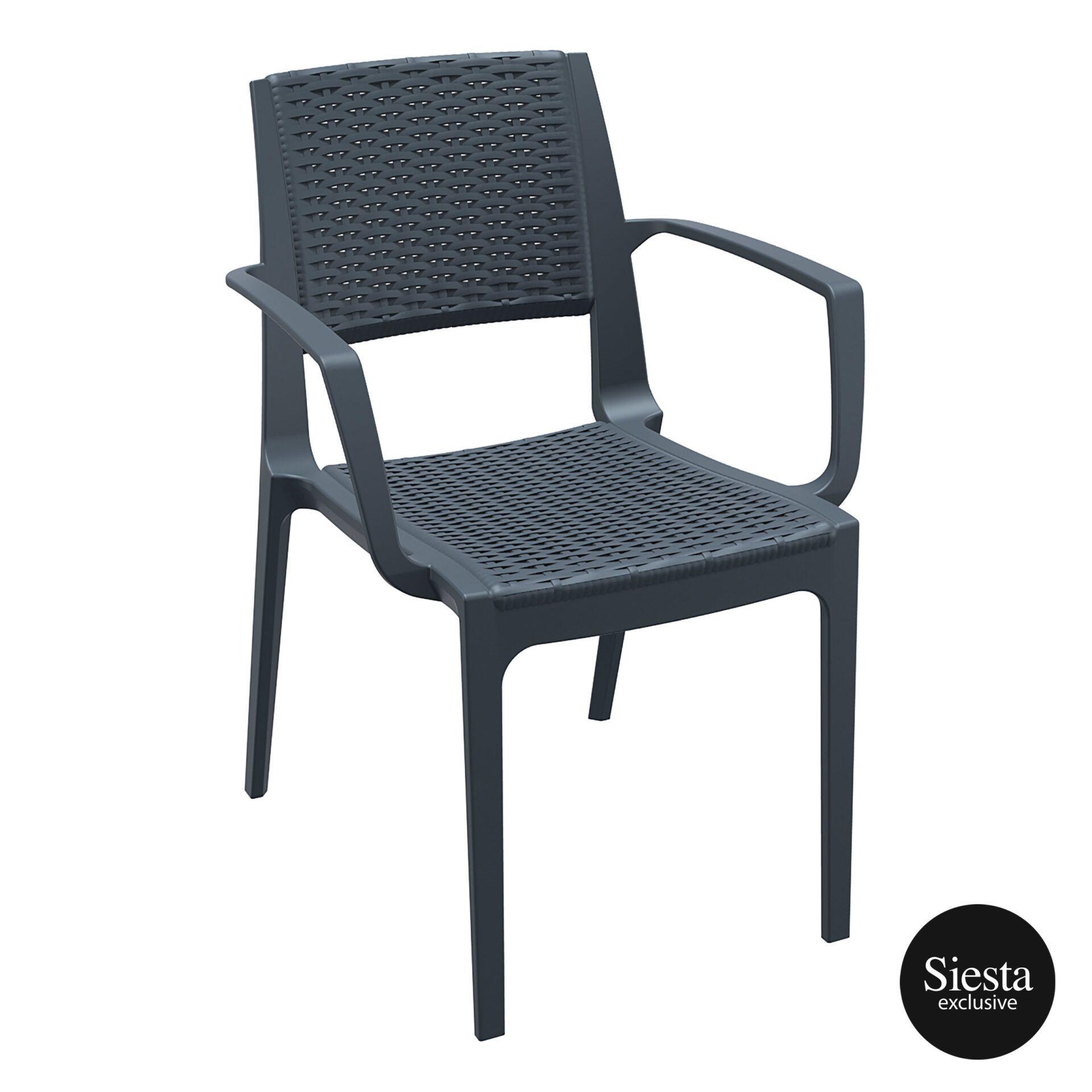 rattan outdoor seating capri chair darkgrey front side 1