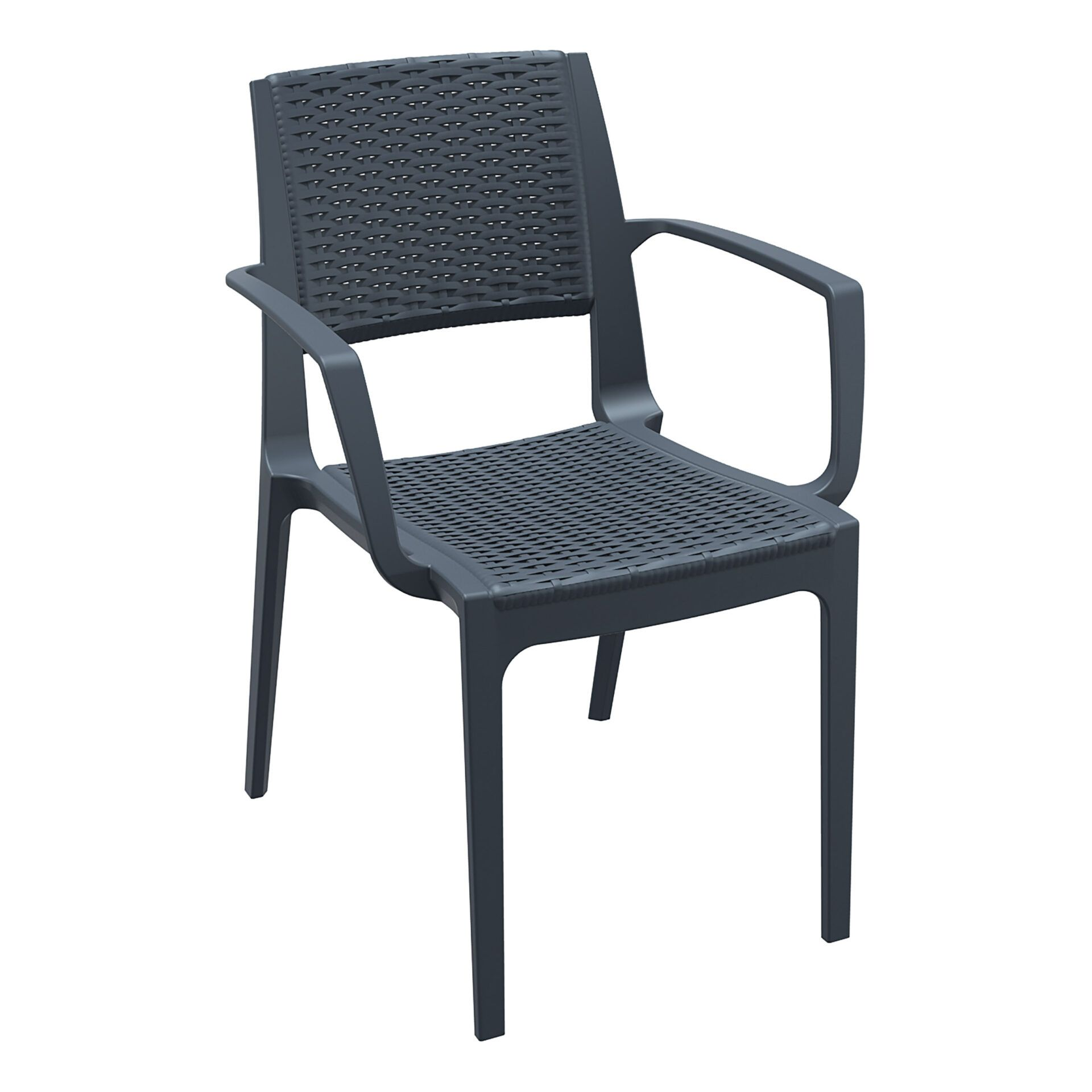rattan outdoor seating capri chair darkgrey front side