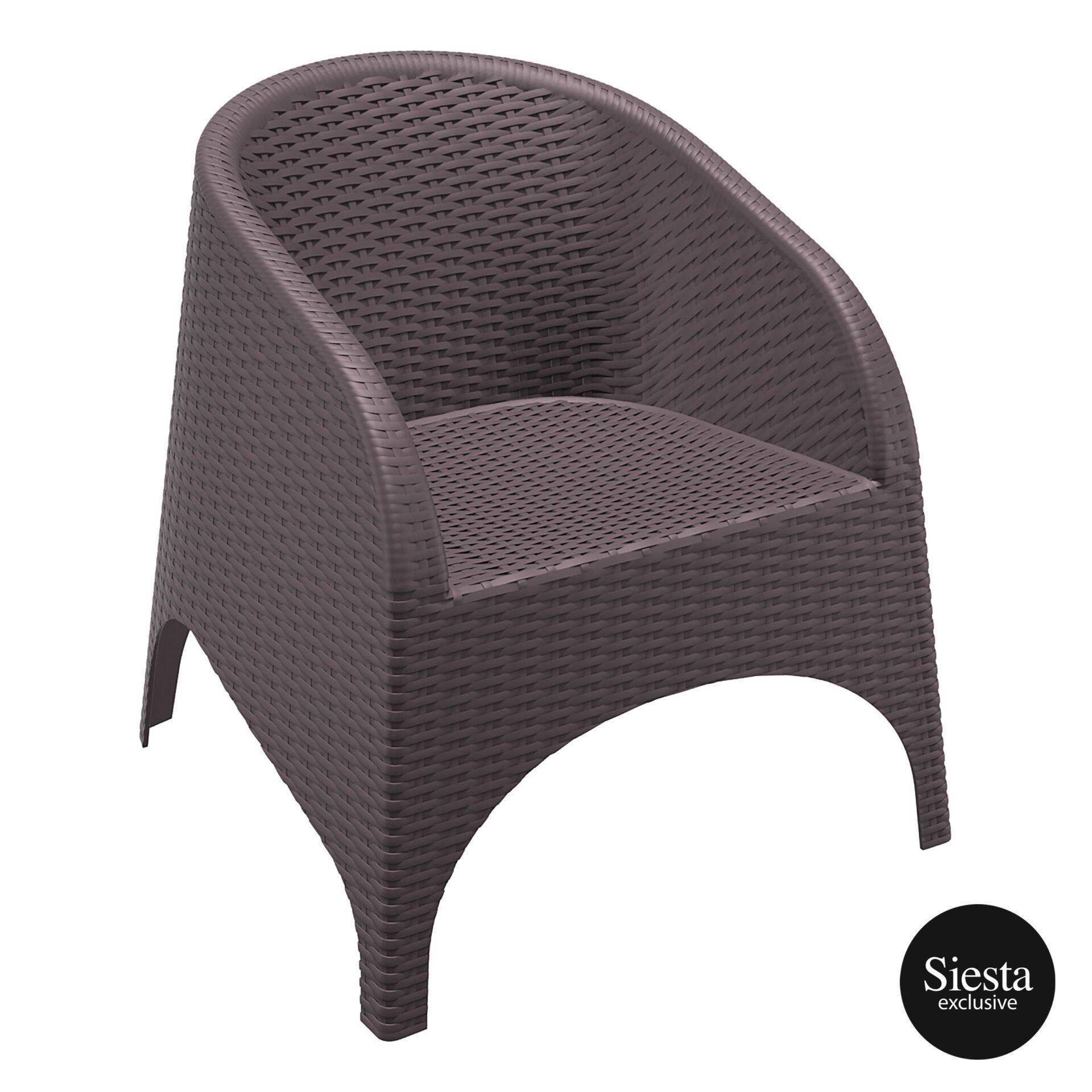 resin outdoor aruba armchair brown front side 1