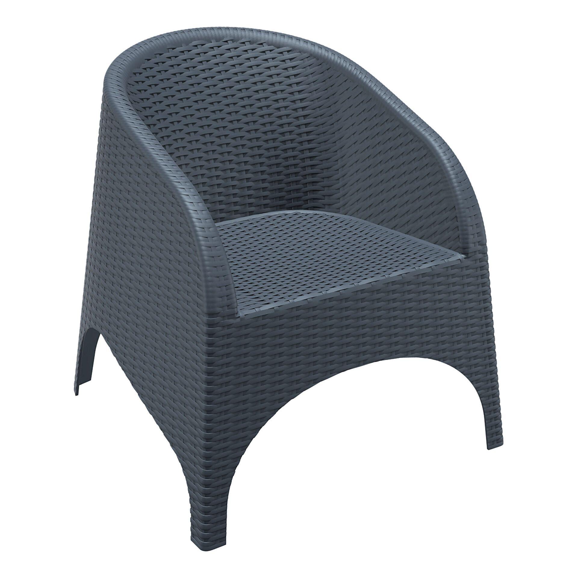 resin outdoor aruba armchair darkgrey front side
