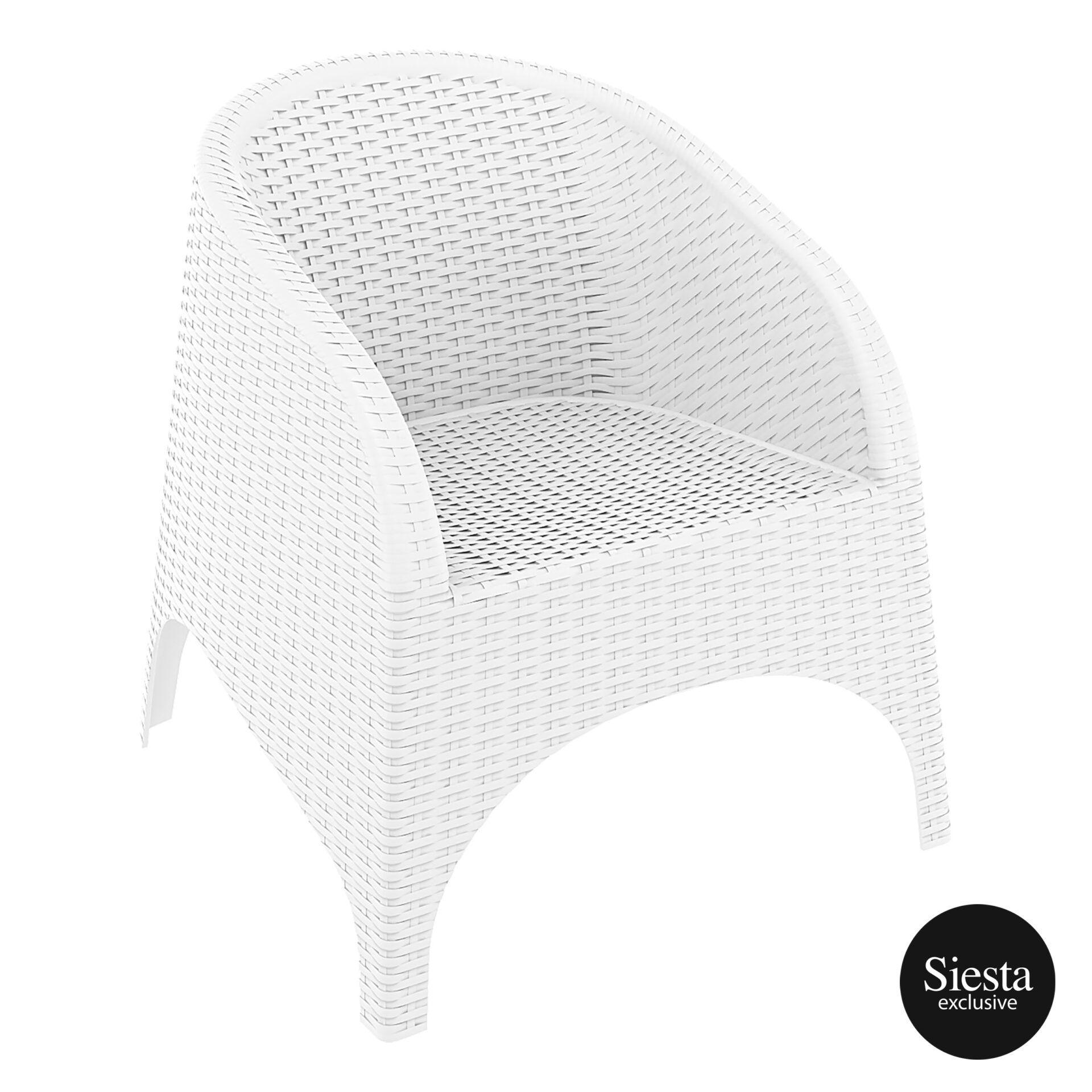 resin outdoor aruba armchair white front side 1