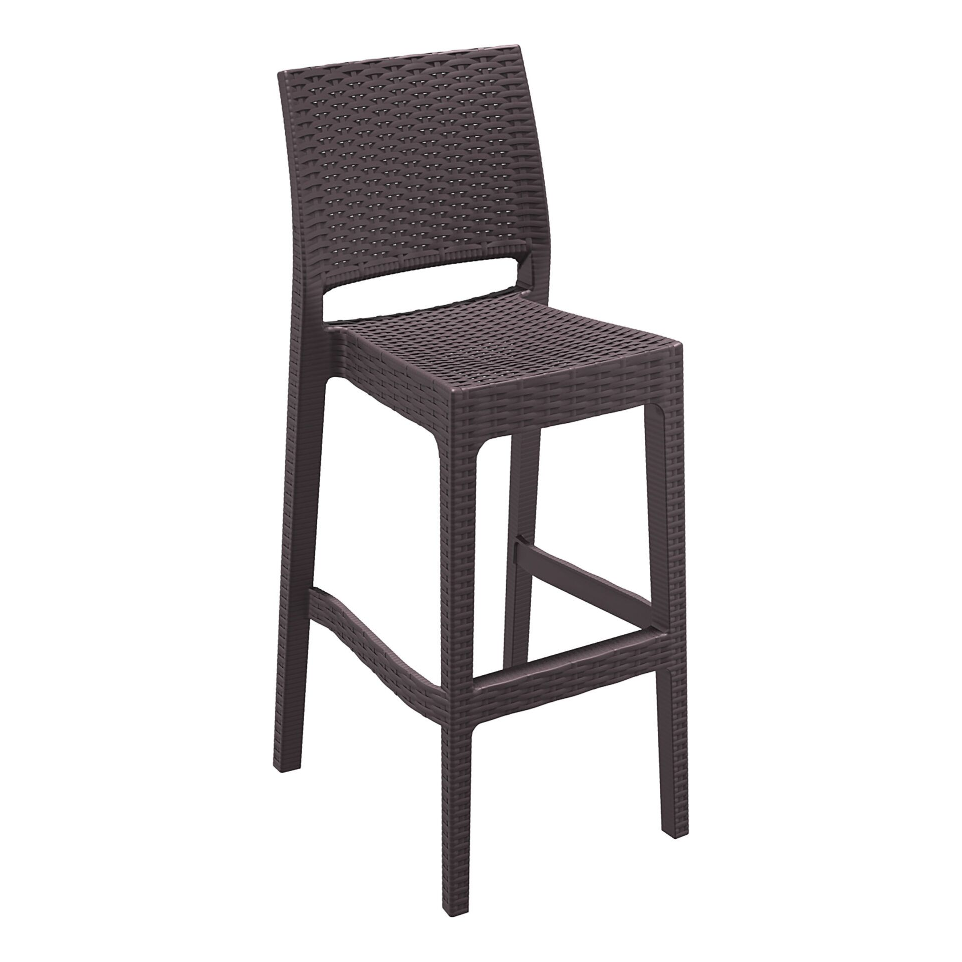 resin rattan bar jamaica barstool brown front side