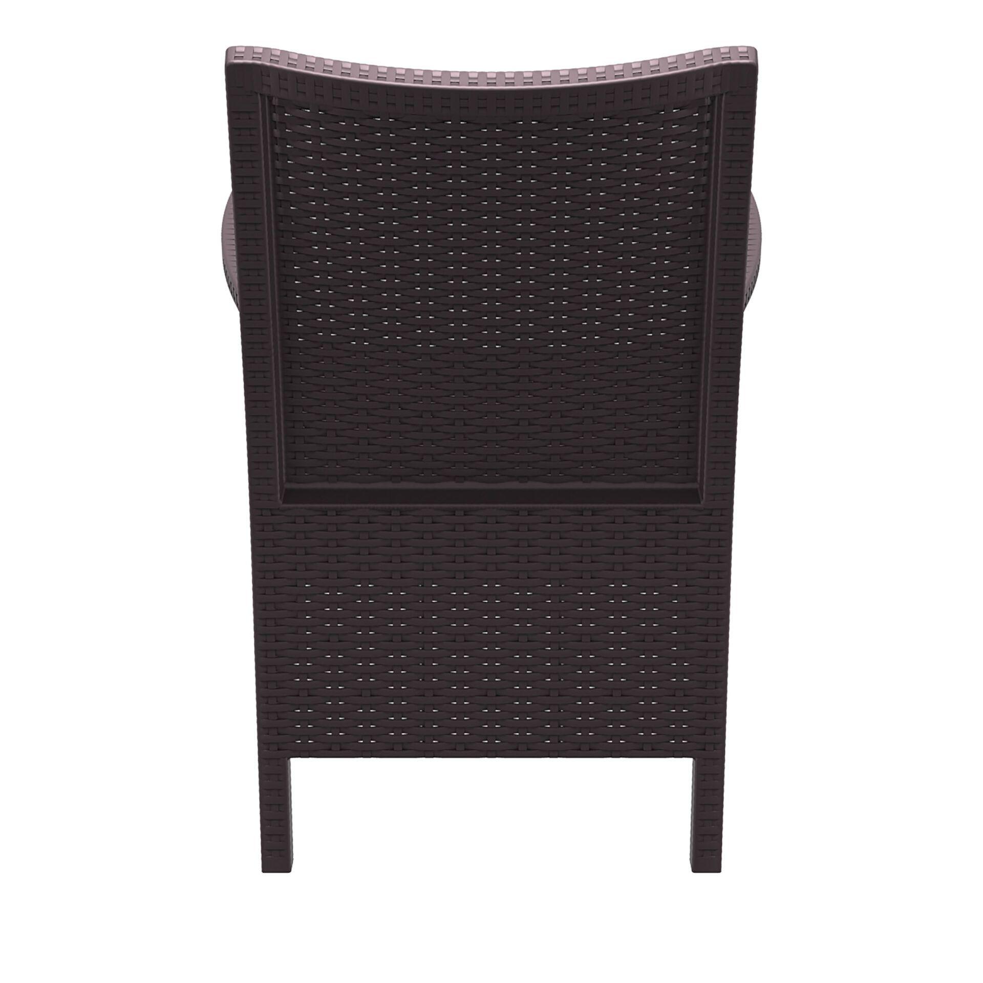 resin rattan california tub chair brown back