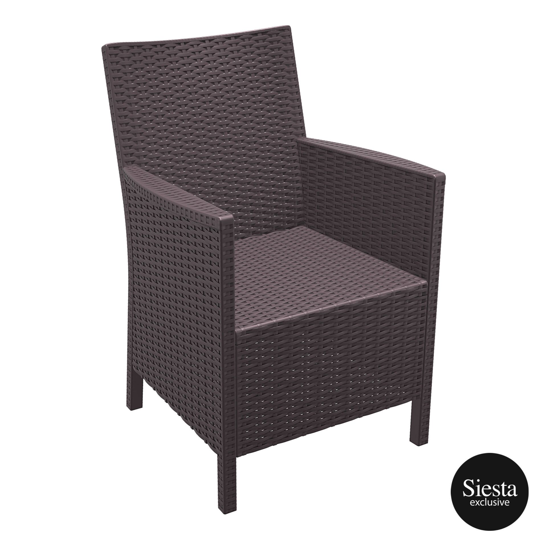 resin rattan california tub chair brown front side 1