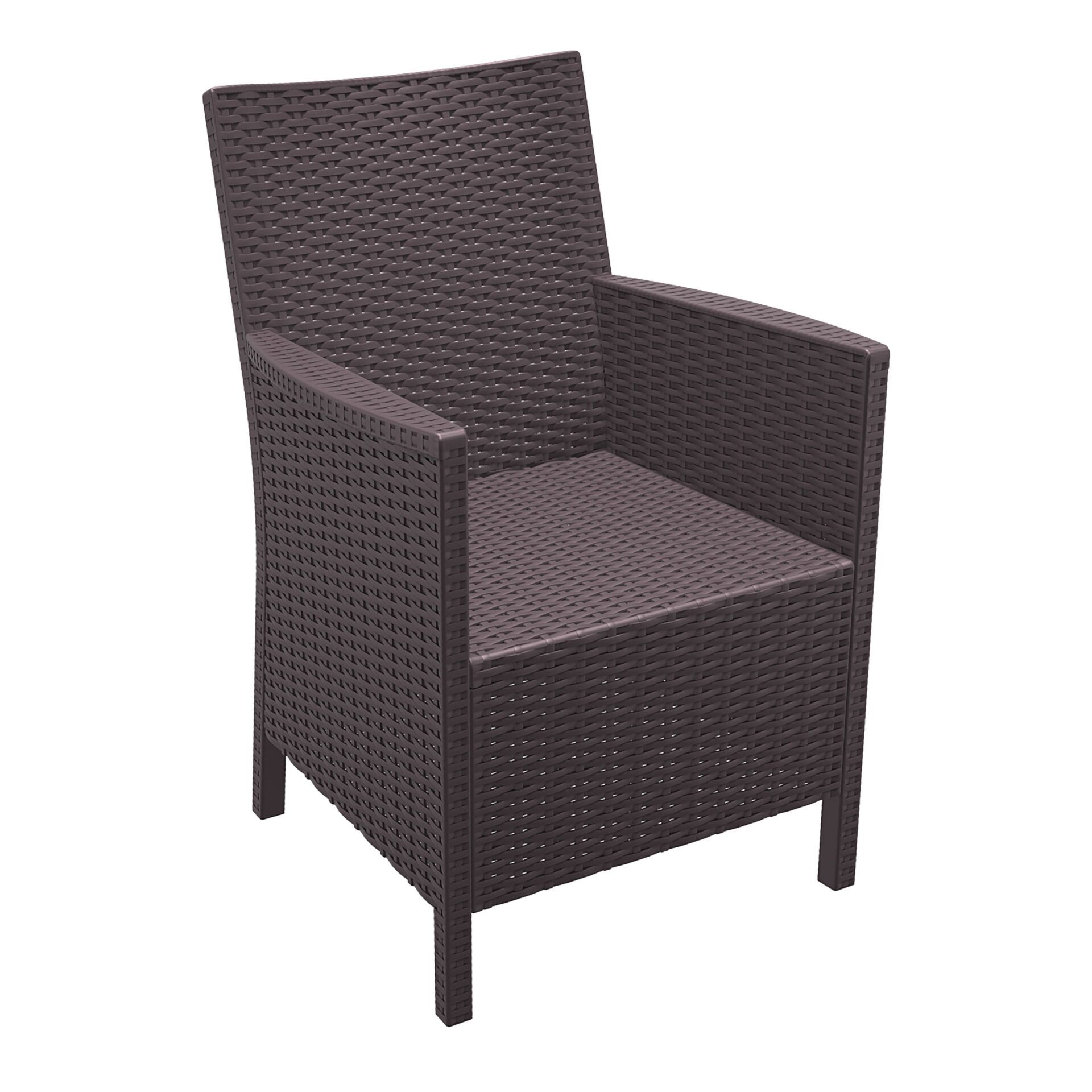 resin rattan california tub chair brown front side