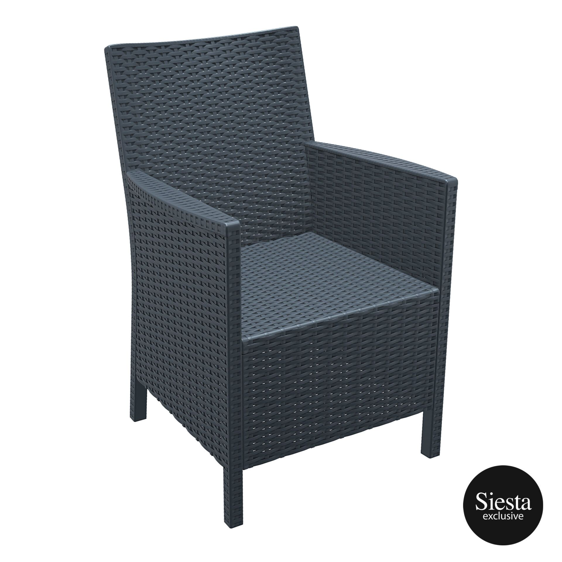 resin rattan california tub chair darkgrey front side 1