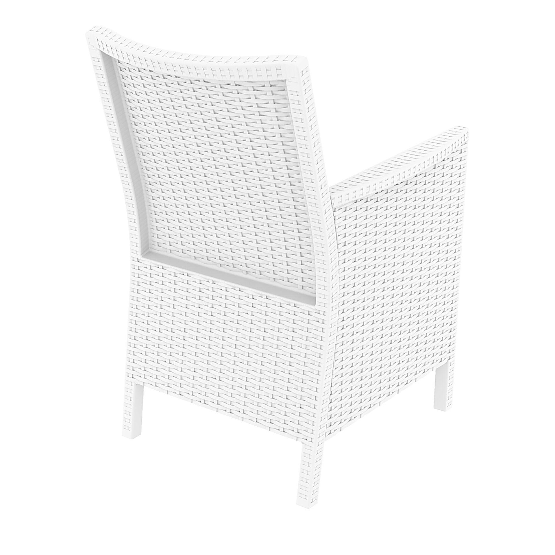 resin rattan california tub chair white back side