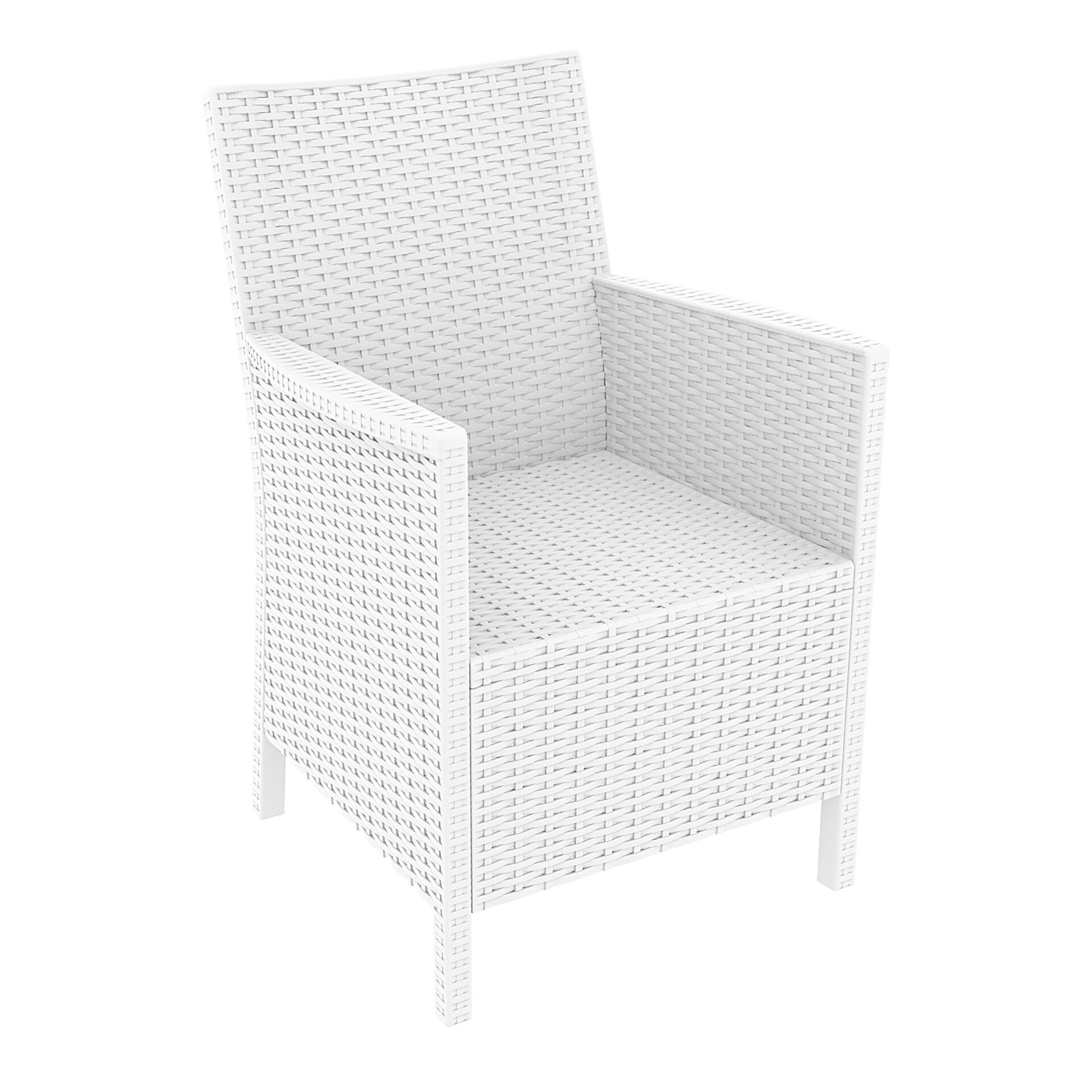 resin rattan california tub chair white front side