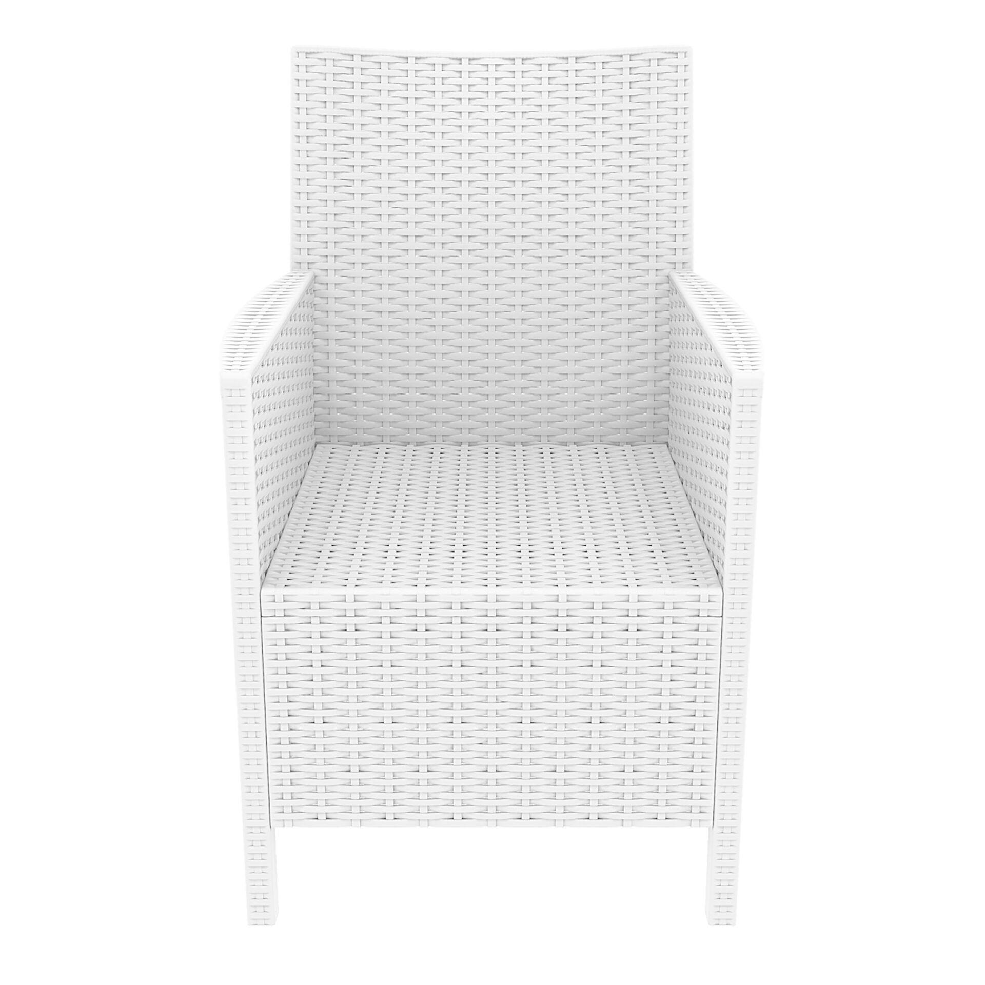 resin rattan california tub chair white front