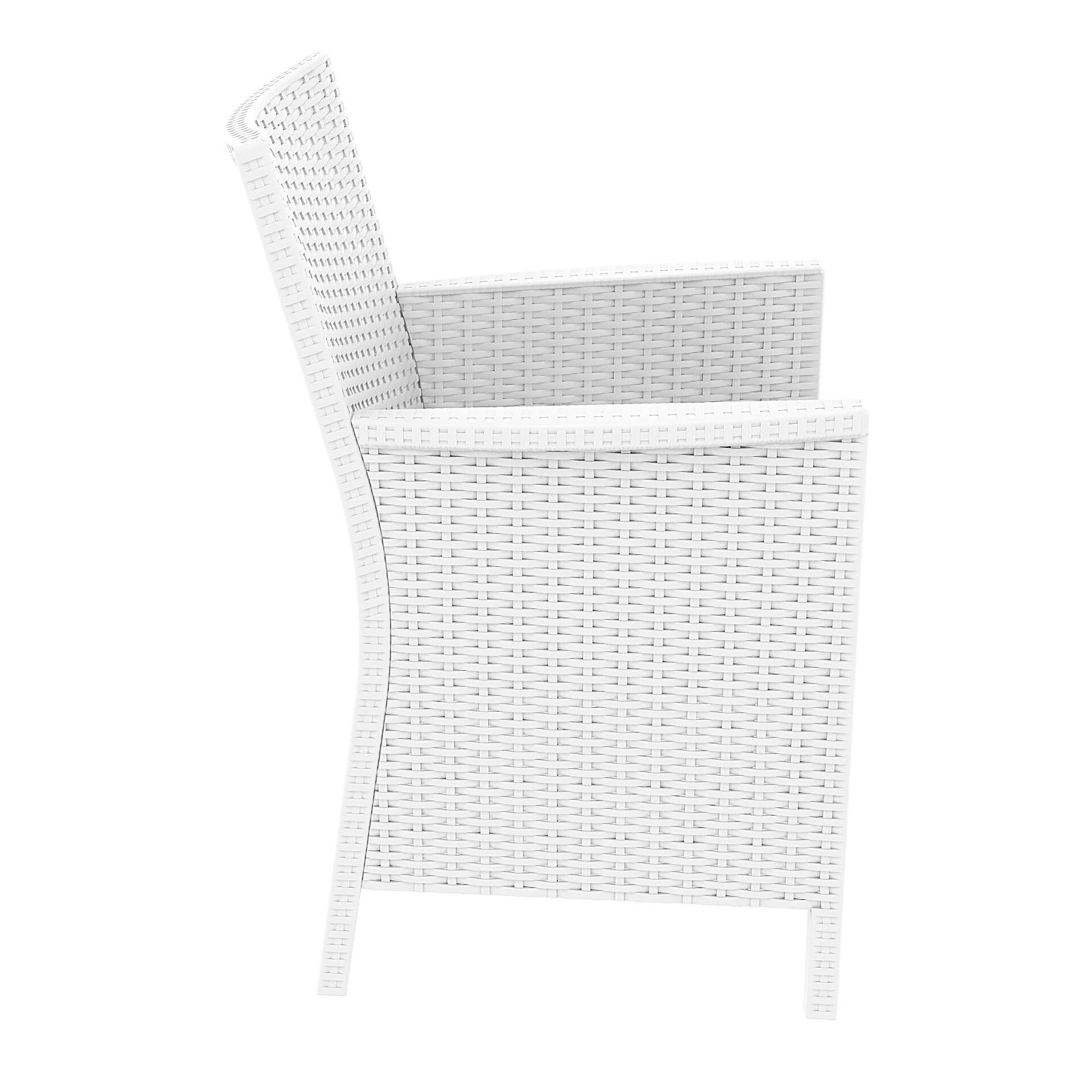 resin rattan california tub chair white side