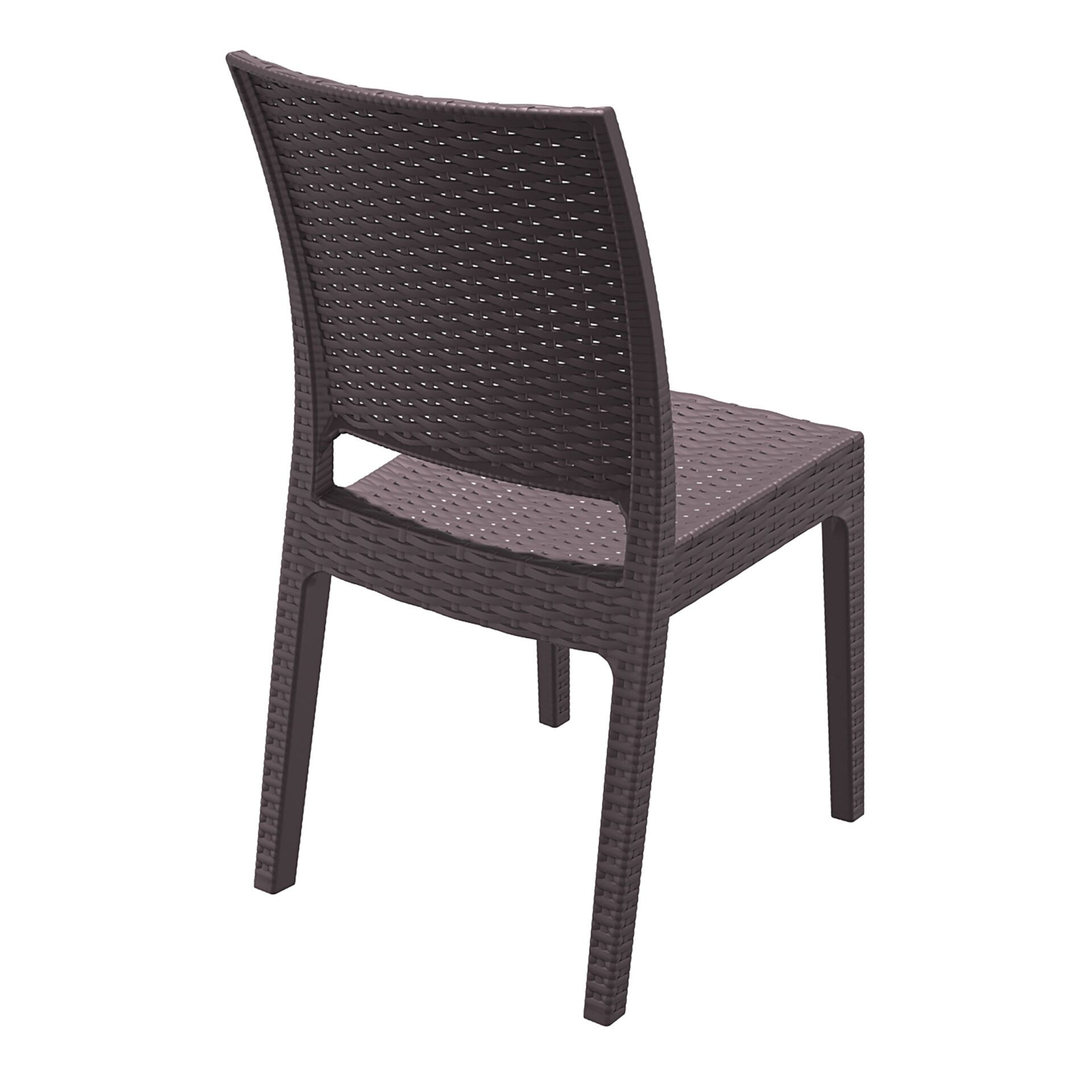 resin rattan dining florida chair brown back side