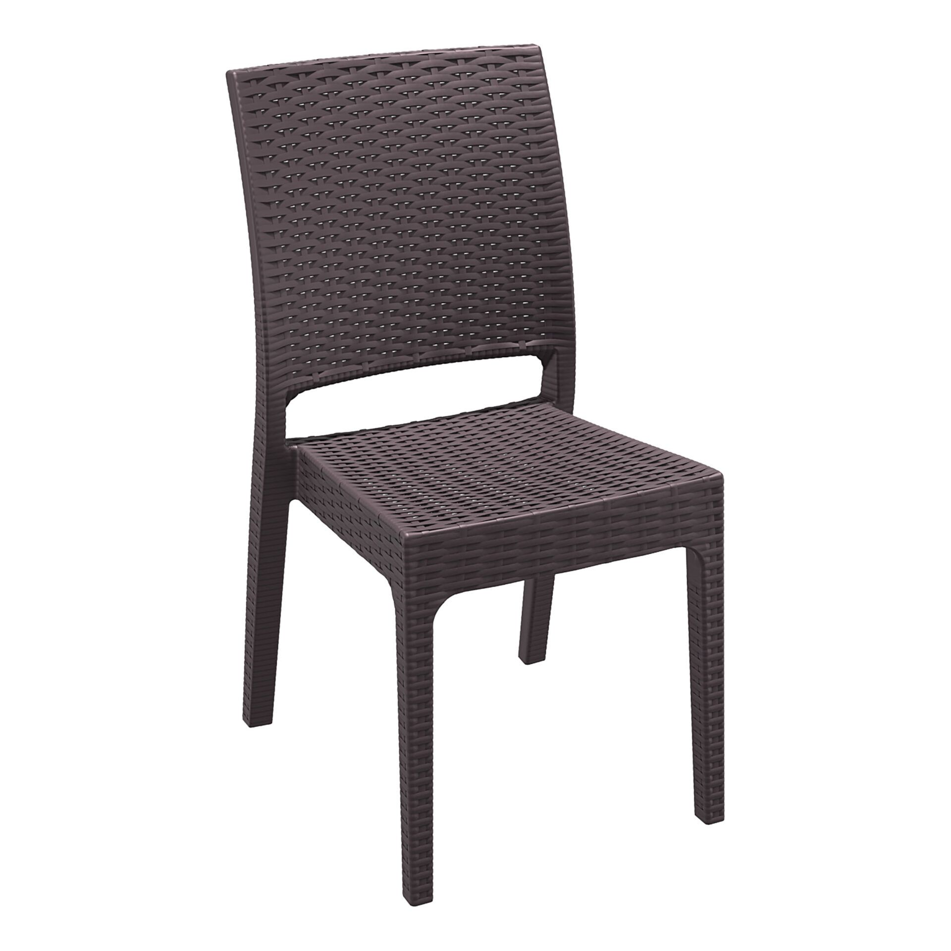resin rattan dining florida chair brown front side