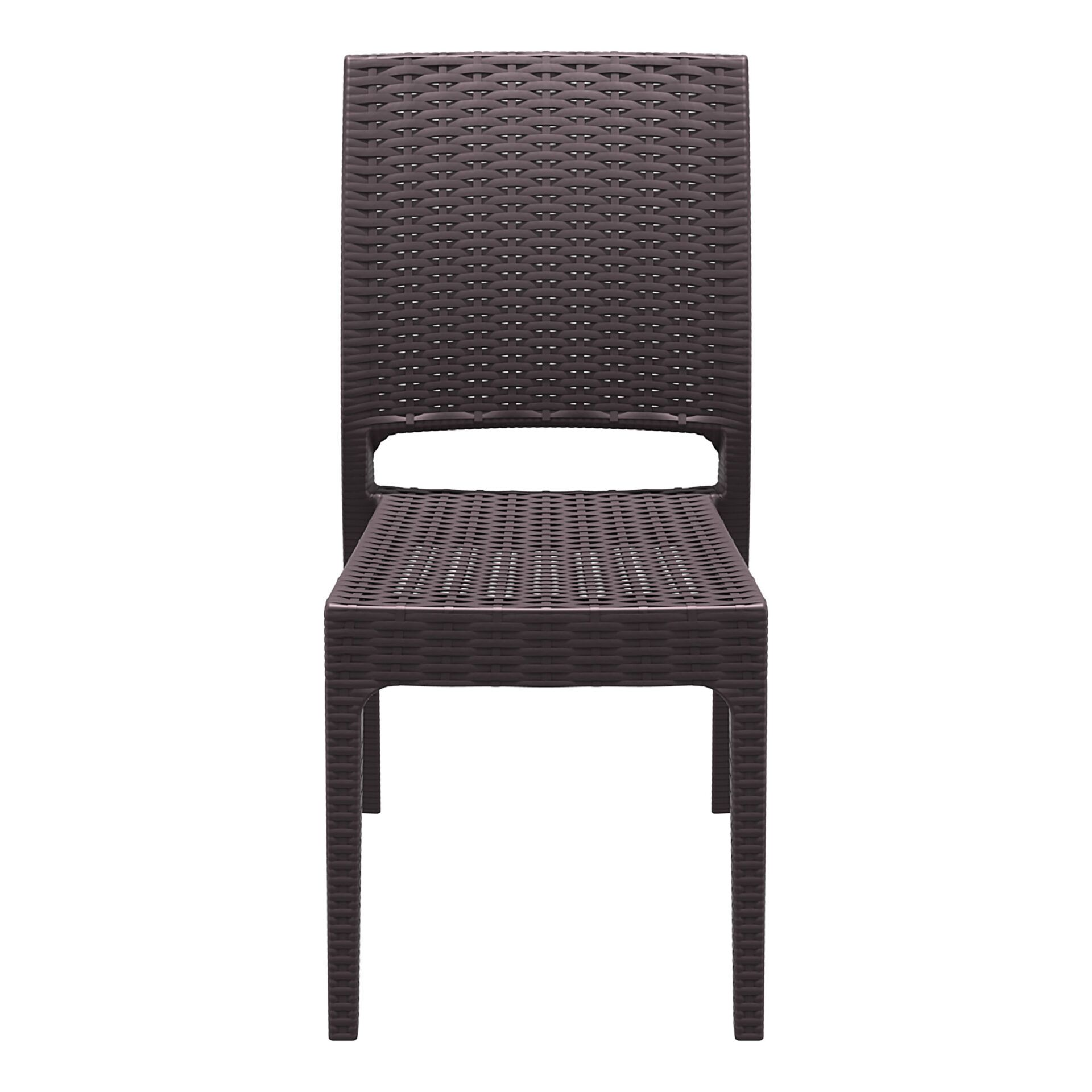 resin rattan dining florida chair brown front