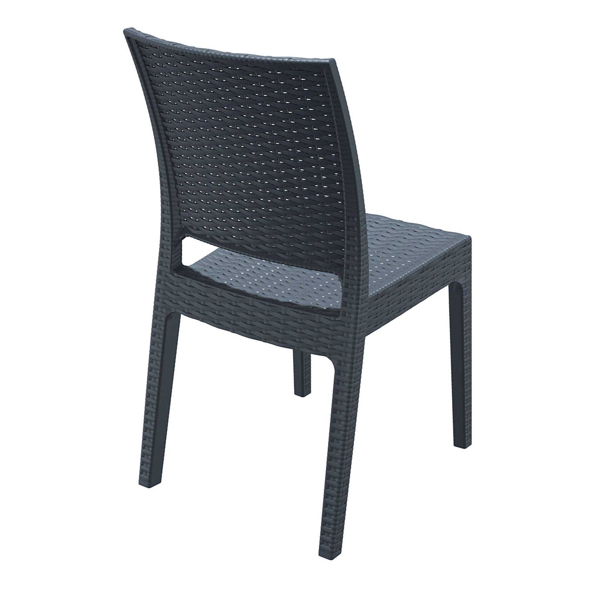resin rattan dining florida chair darkgrey back side