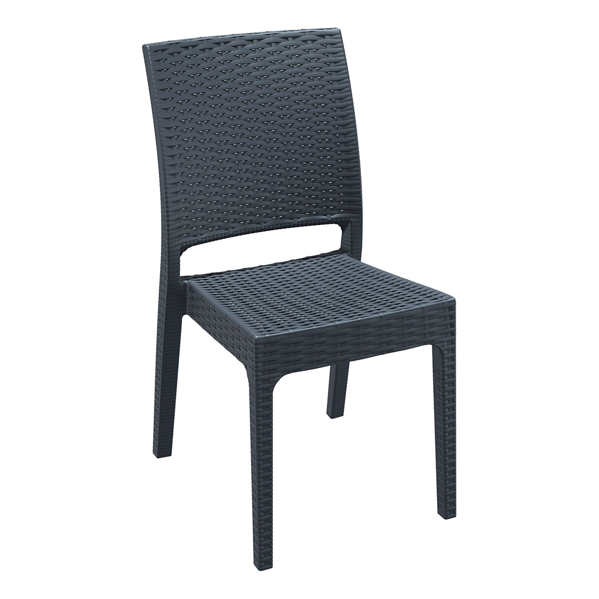 resin rattan dining florida chair darkgrey front side
