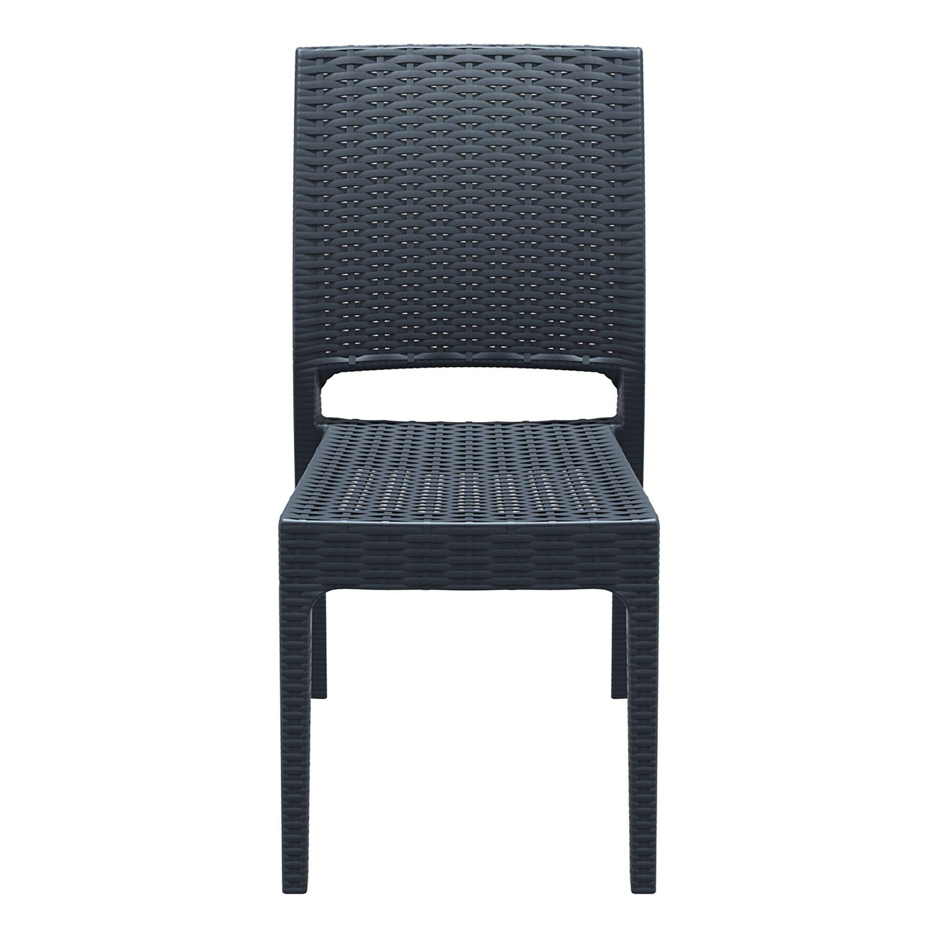 resin rattan dining florida chair darkgrey front