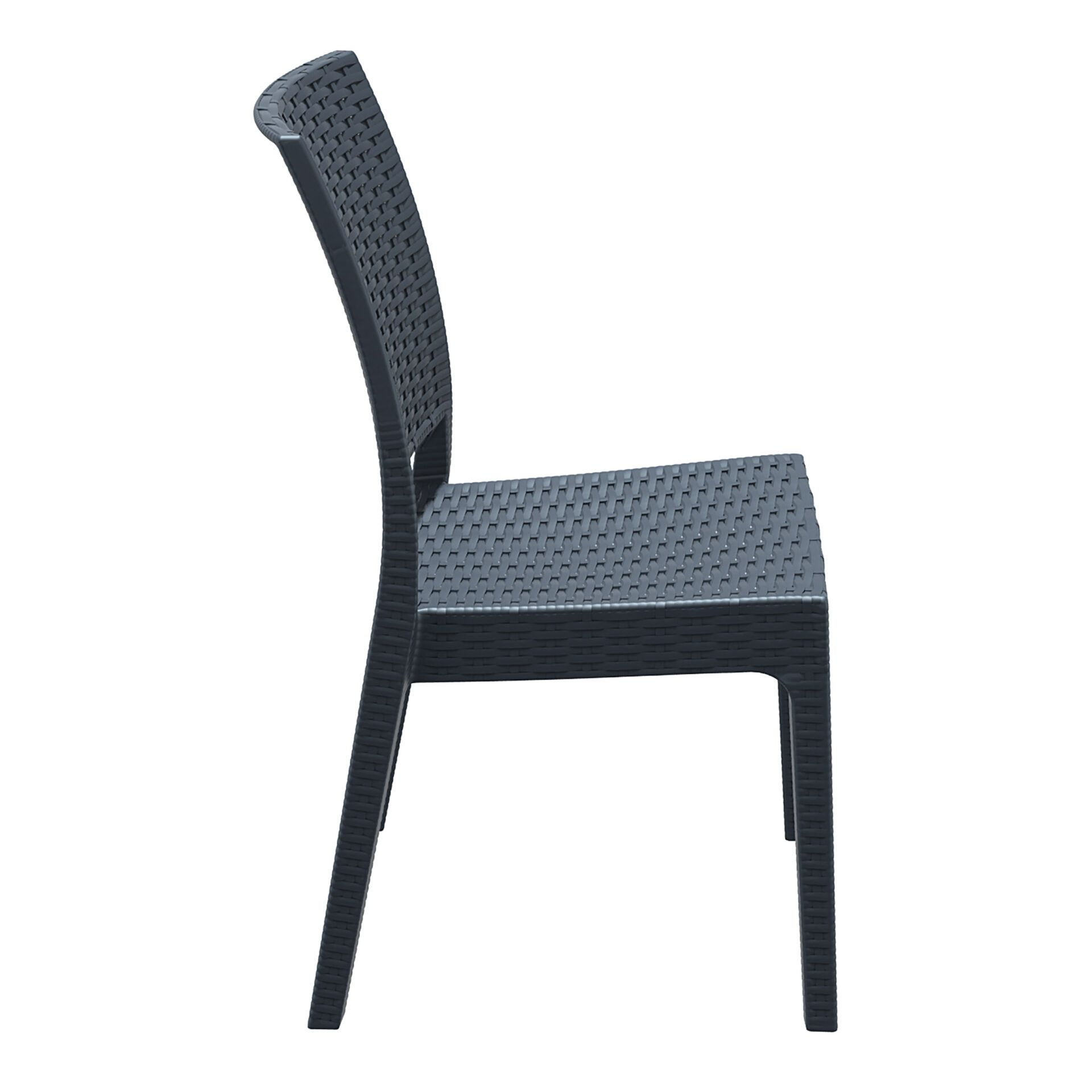 resin rattan dining florida chair darkgrey side