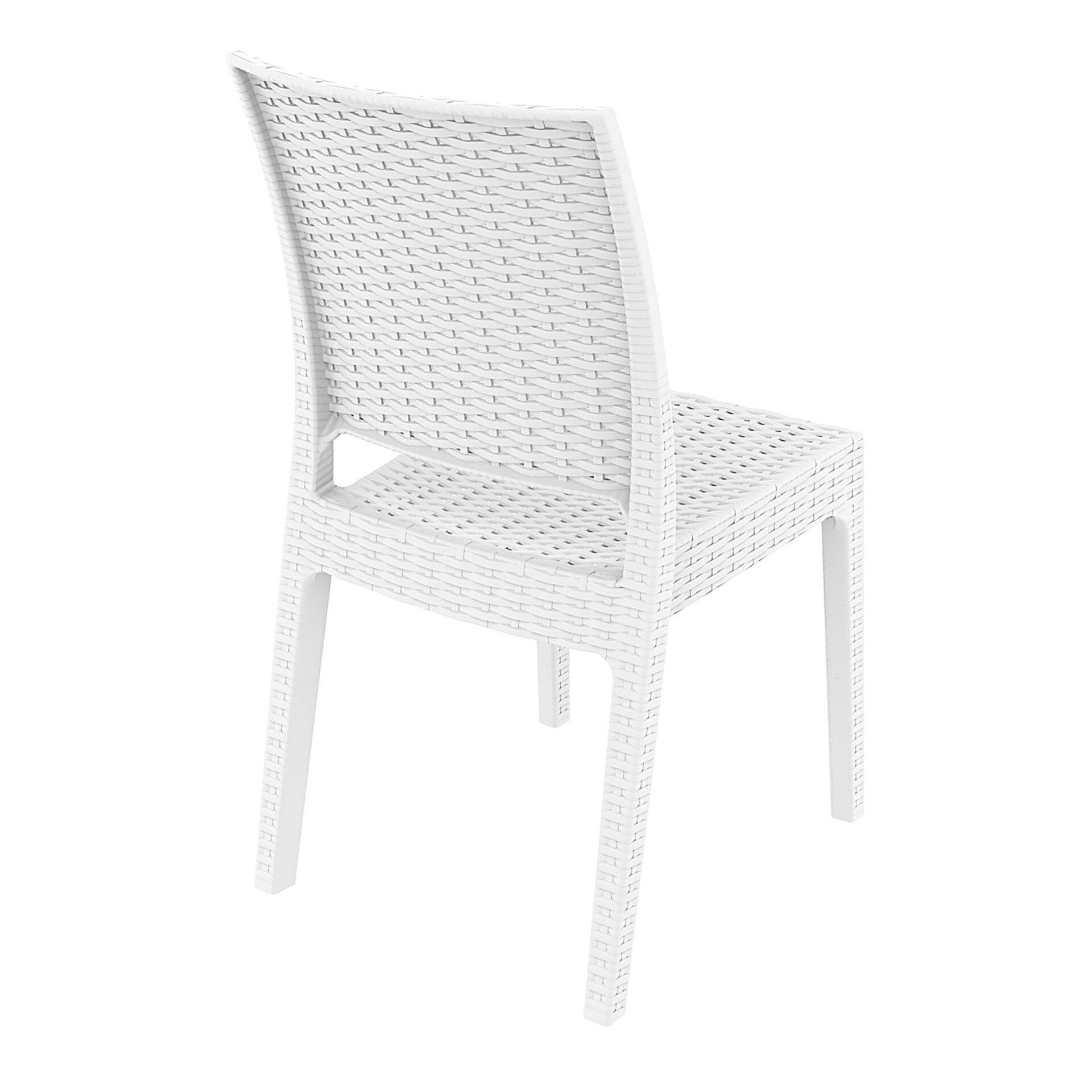resin rattan dining florida chair white back side
