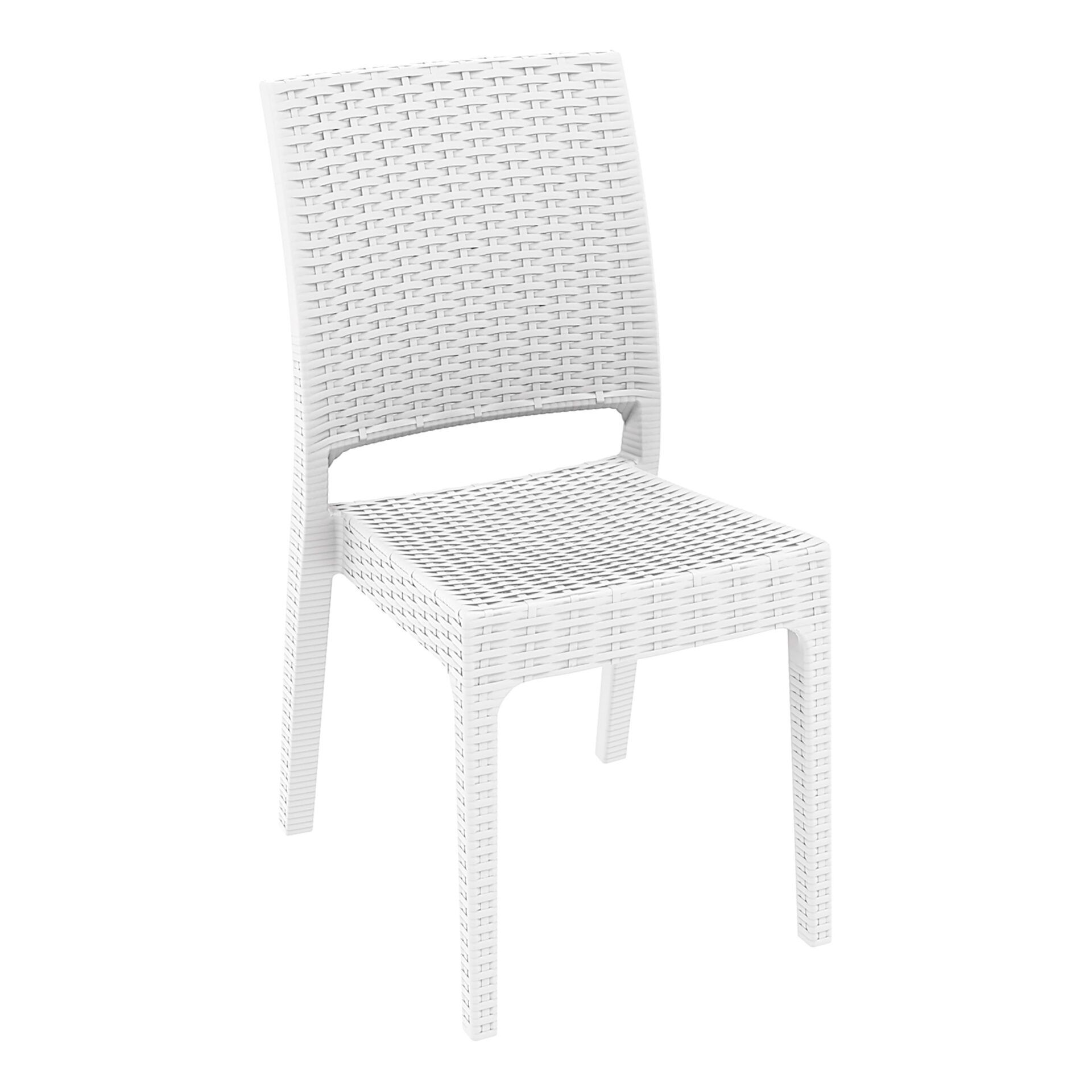 resin rattan dining florida chair white front side