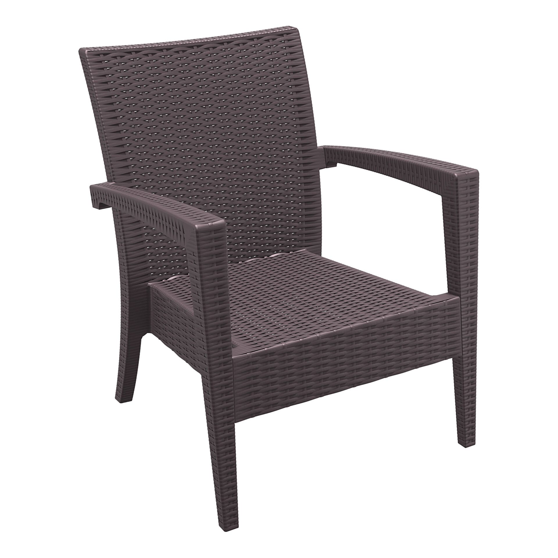 resin rattan miami tequila lounge armchair brown front side