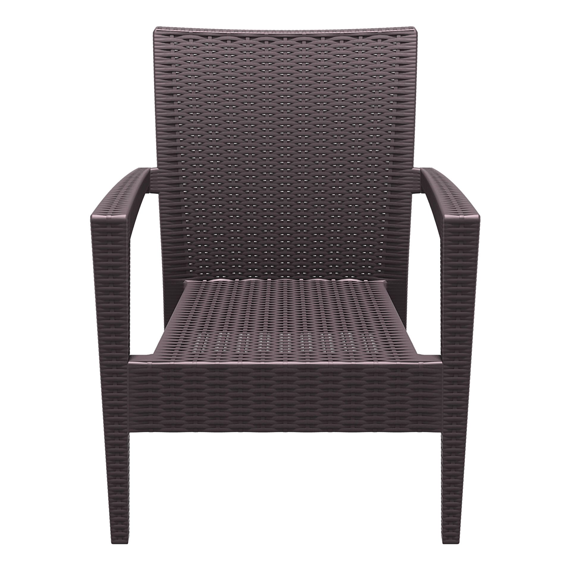 resin rattan miami tequila lounge armchair brown front