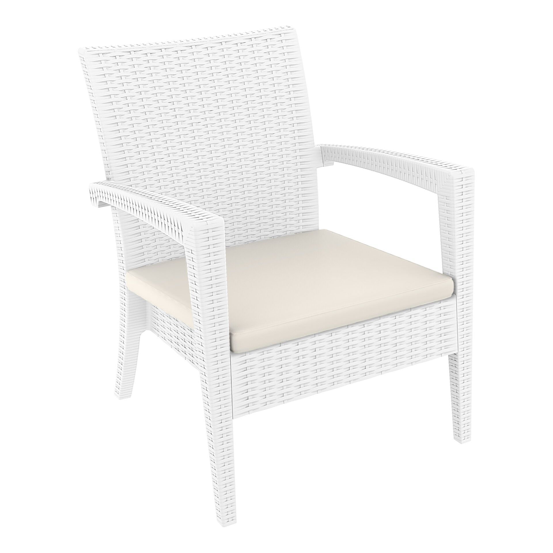 resin rattan miami tequila lounge armchair cushion white front side