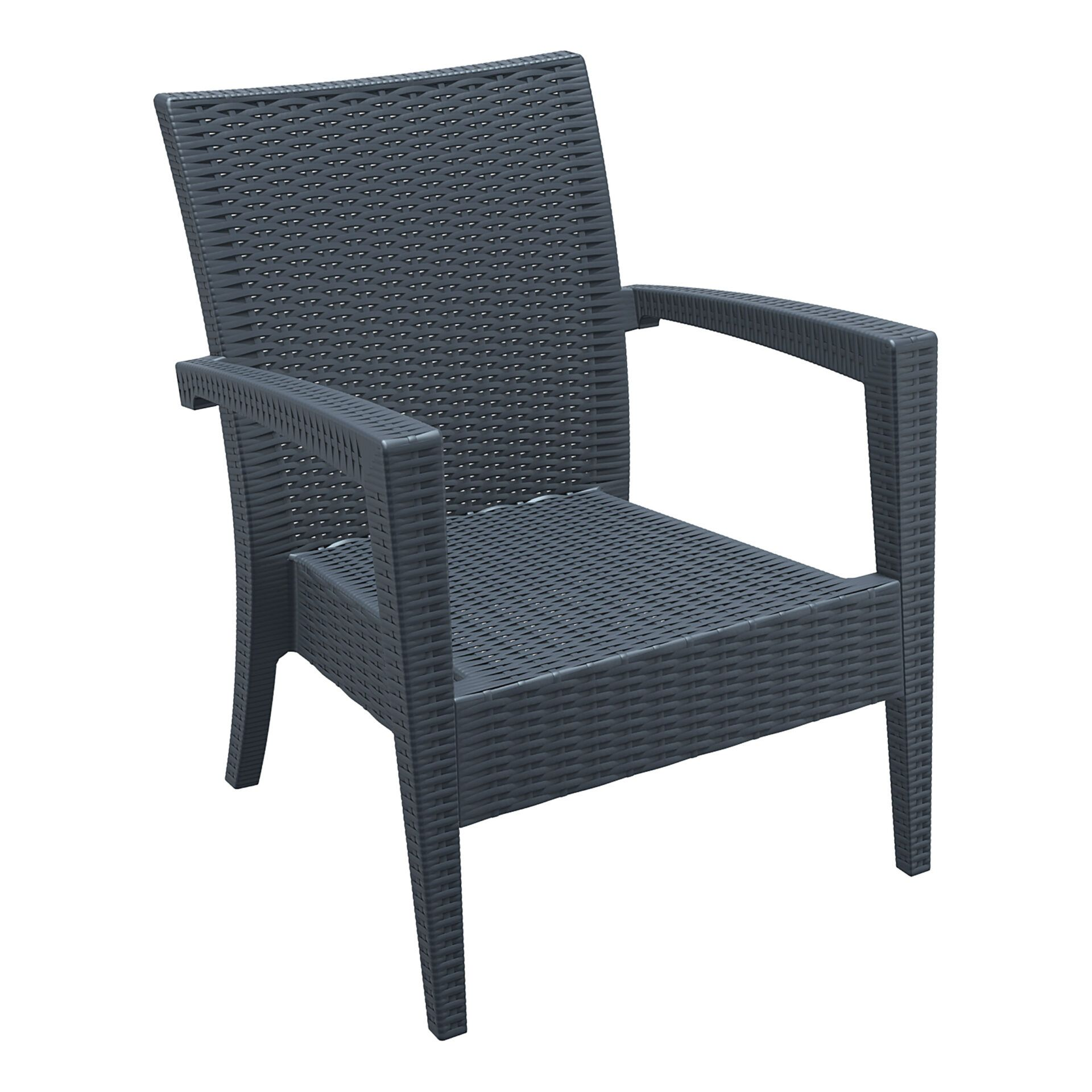 resin rattan miami tequila lounge armchair darkgrey front side