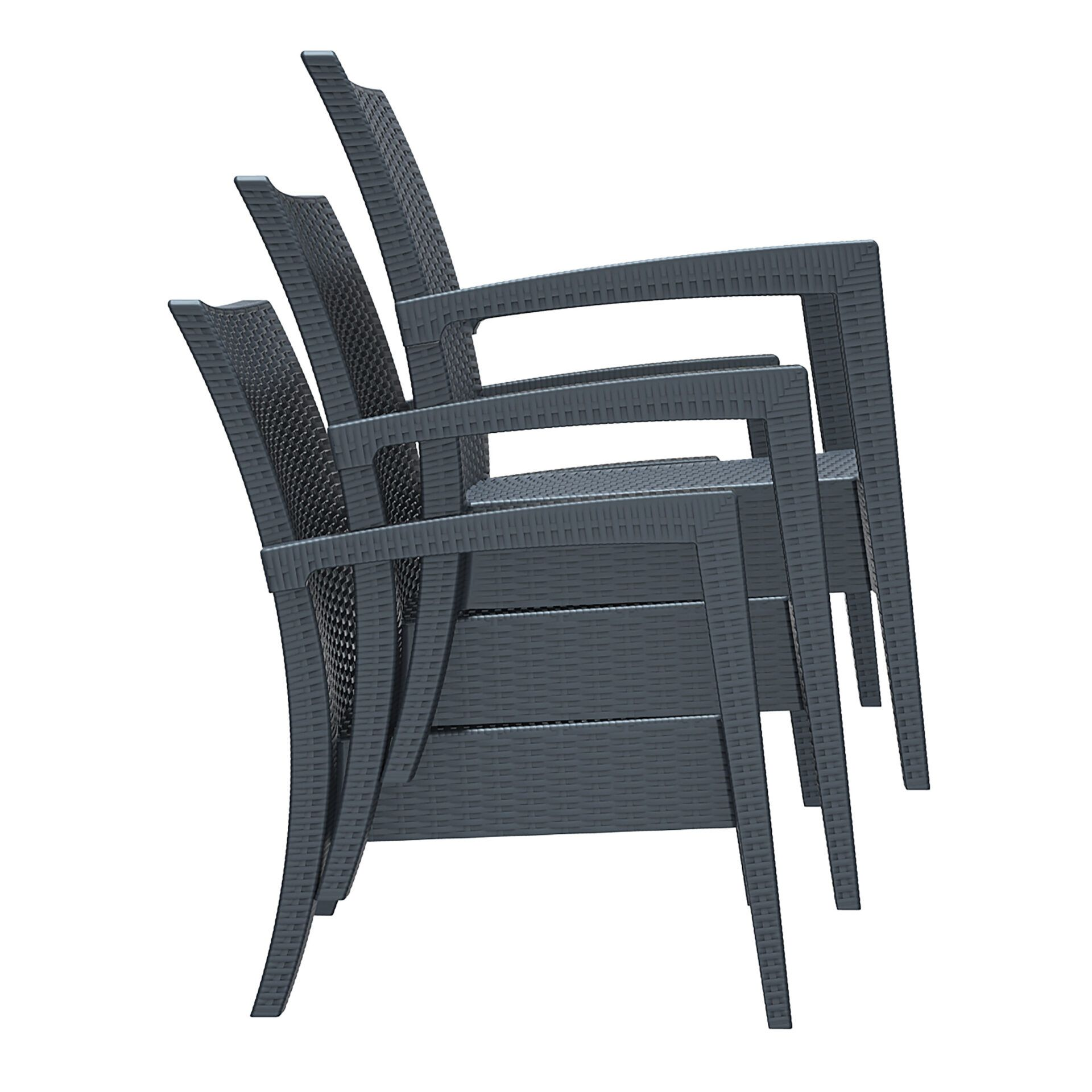 resin rattan miami tequila lounge armchair stack