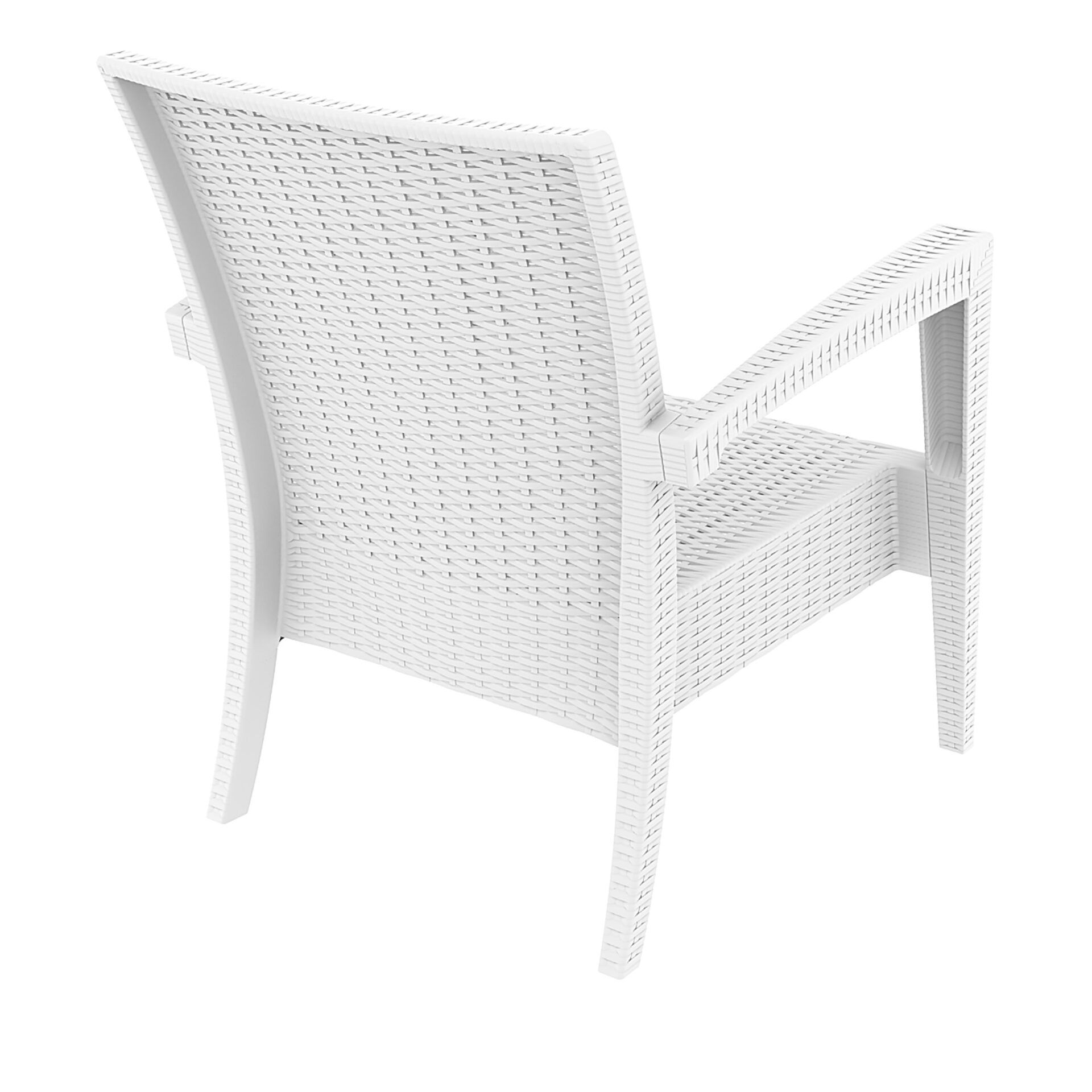 resin rattan miami tequila lounge armchair white back side