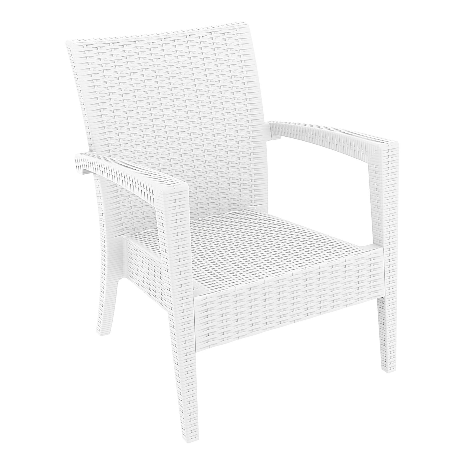 resin rattan miami tequila lounge armchair white front side