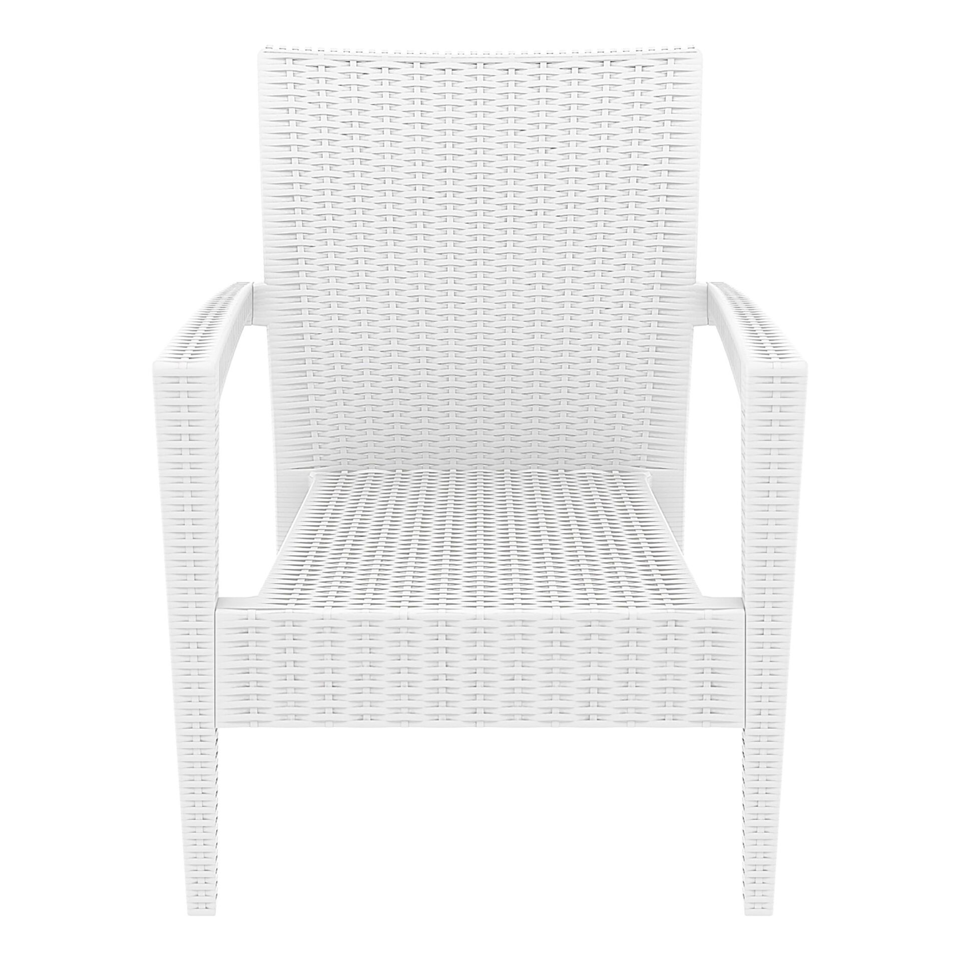 resin rattan miami tequila lounge armchair white front