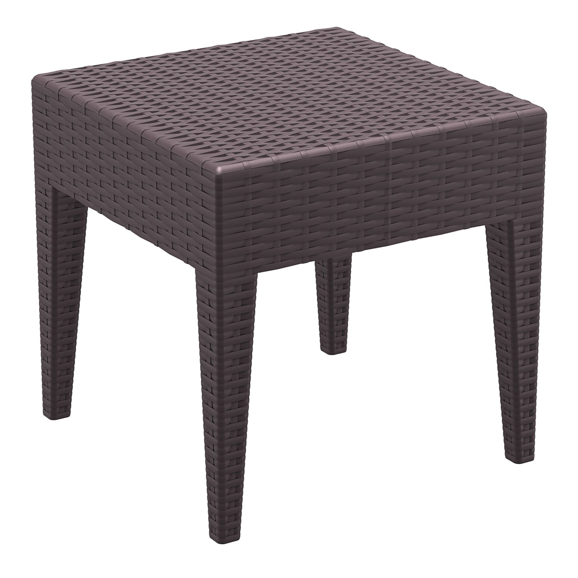 resin rattan miami tequila lounge side table brown front side