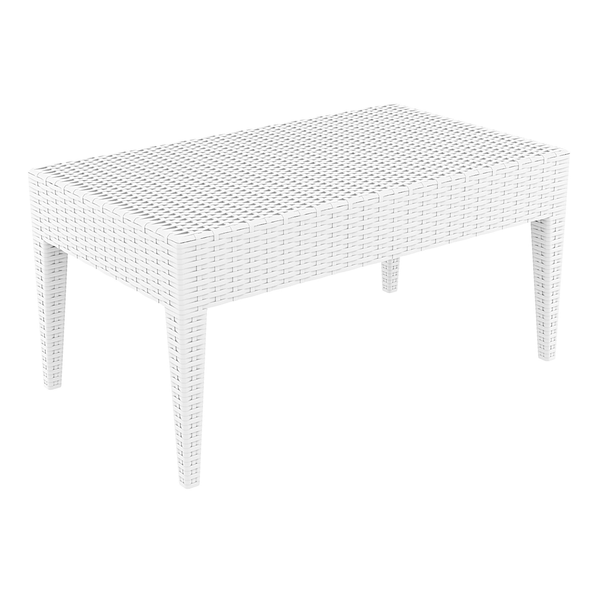 resin rattan miami tequila lounge table white front side