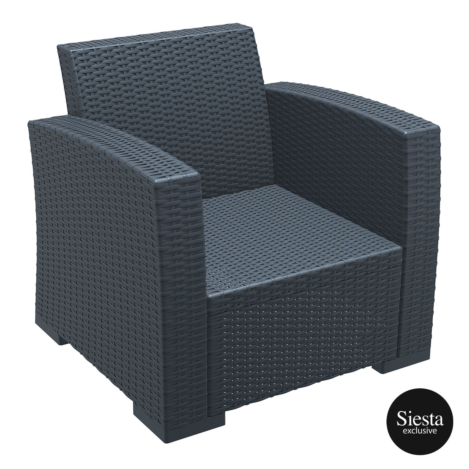 resin rattan monaco armchair darkgrey front side