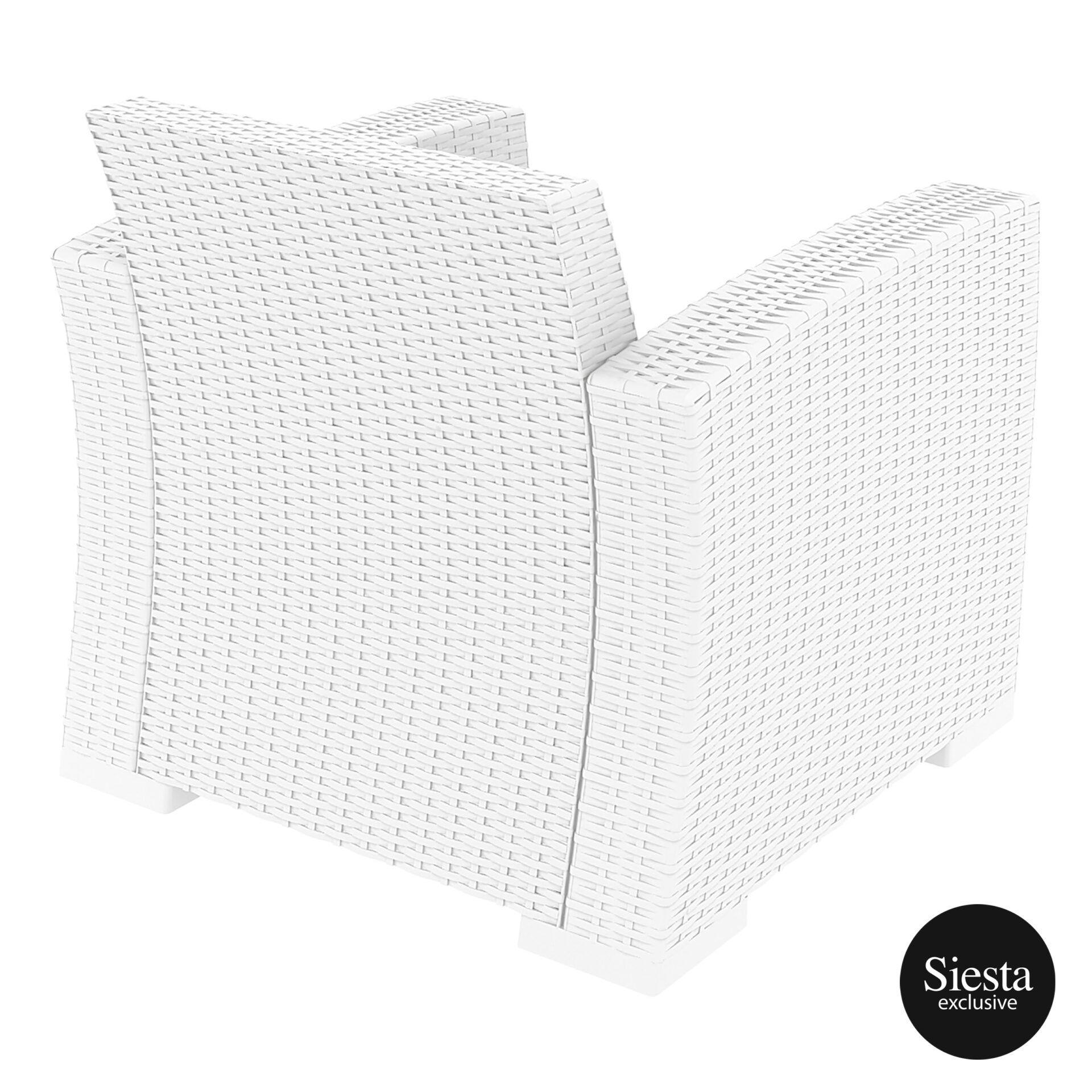resin rattan monaco armchair white back side